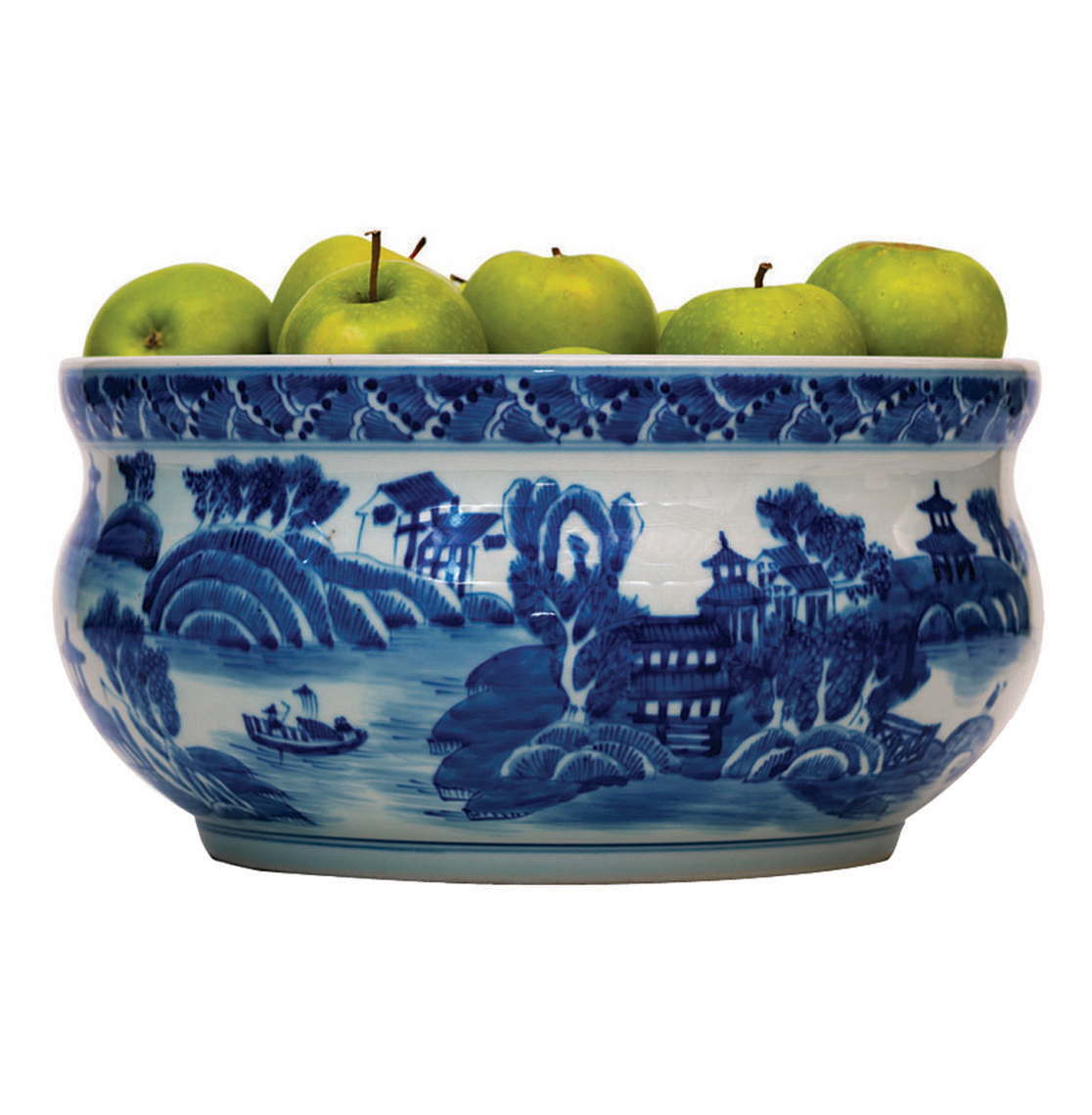 Summer Palace Chinese Hand Painted Blue White Basin Fruit Bowl