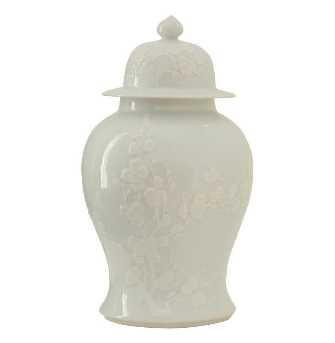 Blanc De Chine White Porcelain Cherry Blossom Ginger Temple Jar