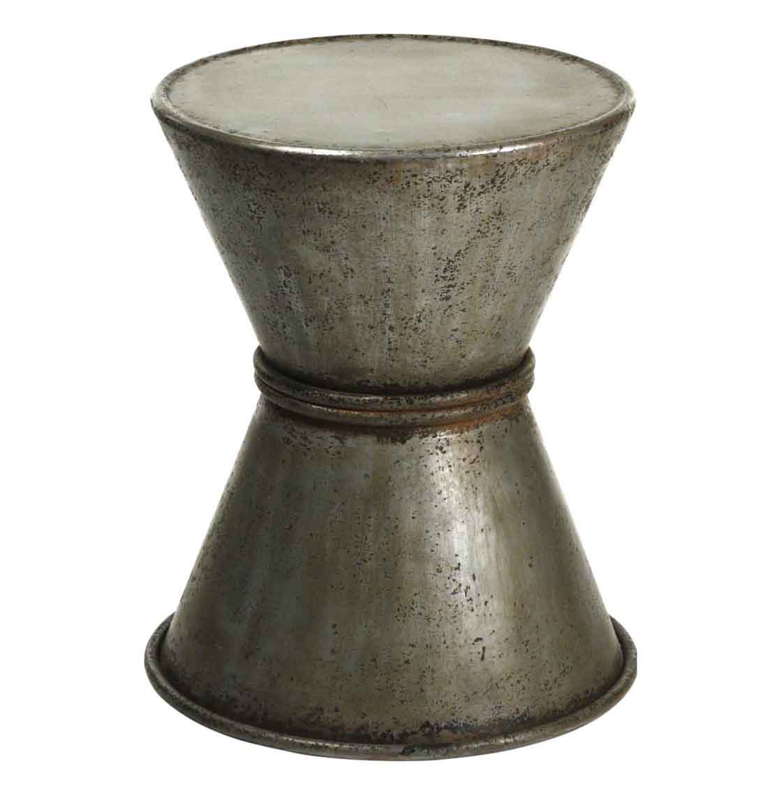 Industrial Rustic Rolled Metal Drum Accent Side Table
