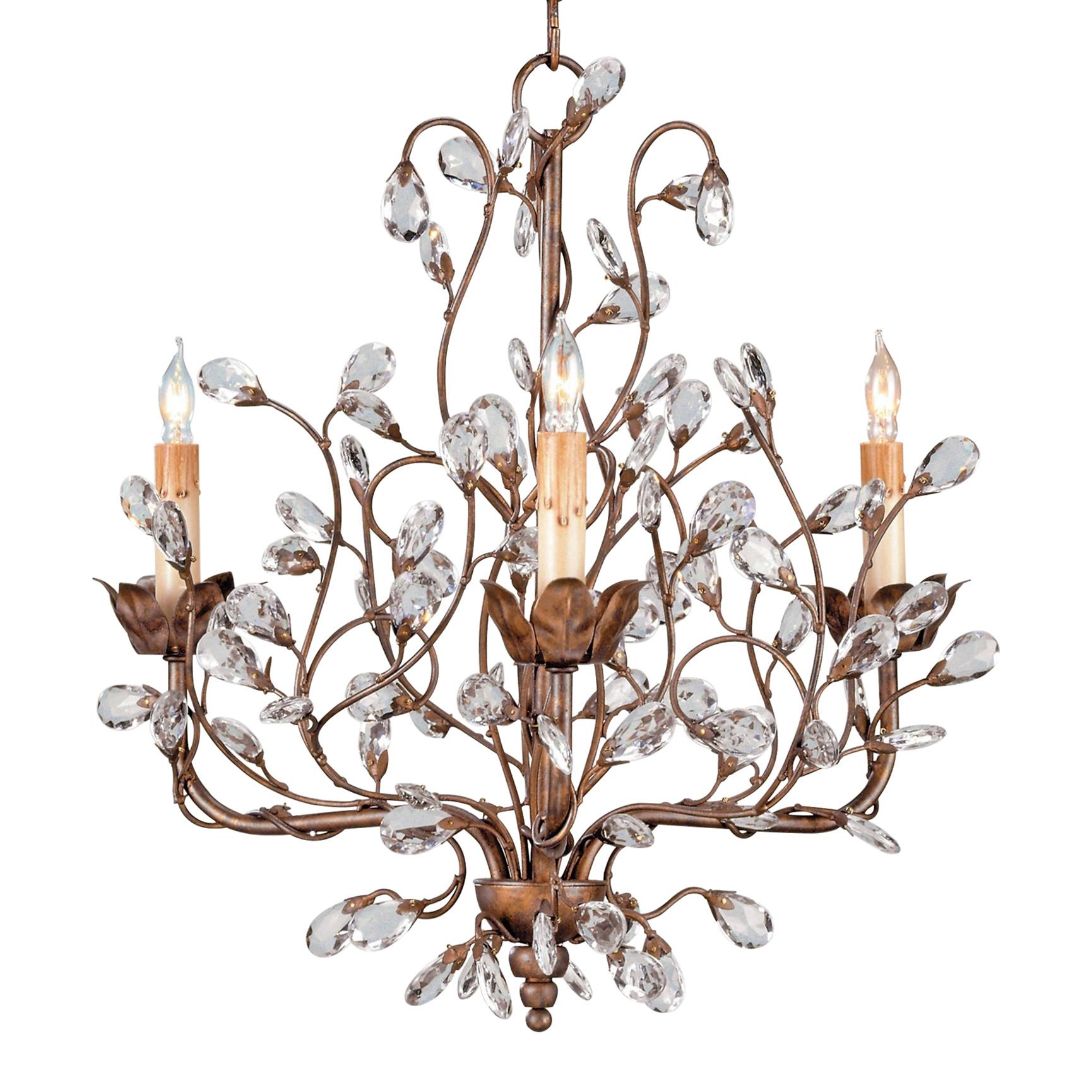 Enchanted Forest Crystal Bud 3 Light Chandelier
