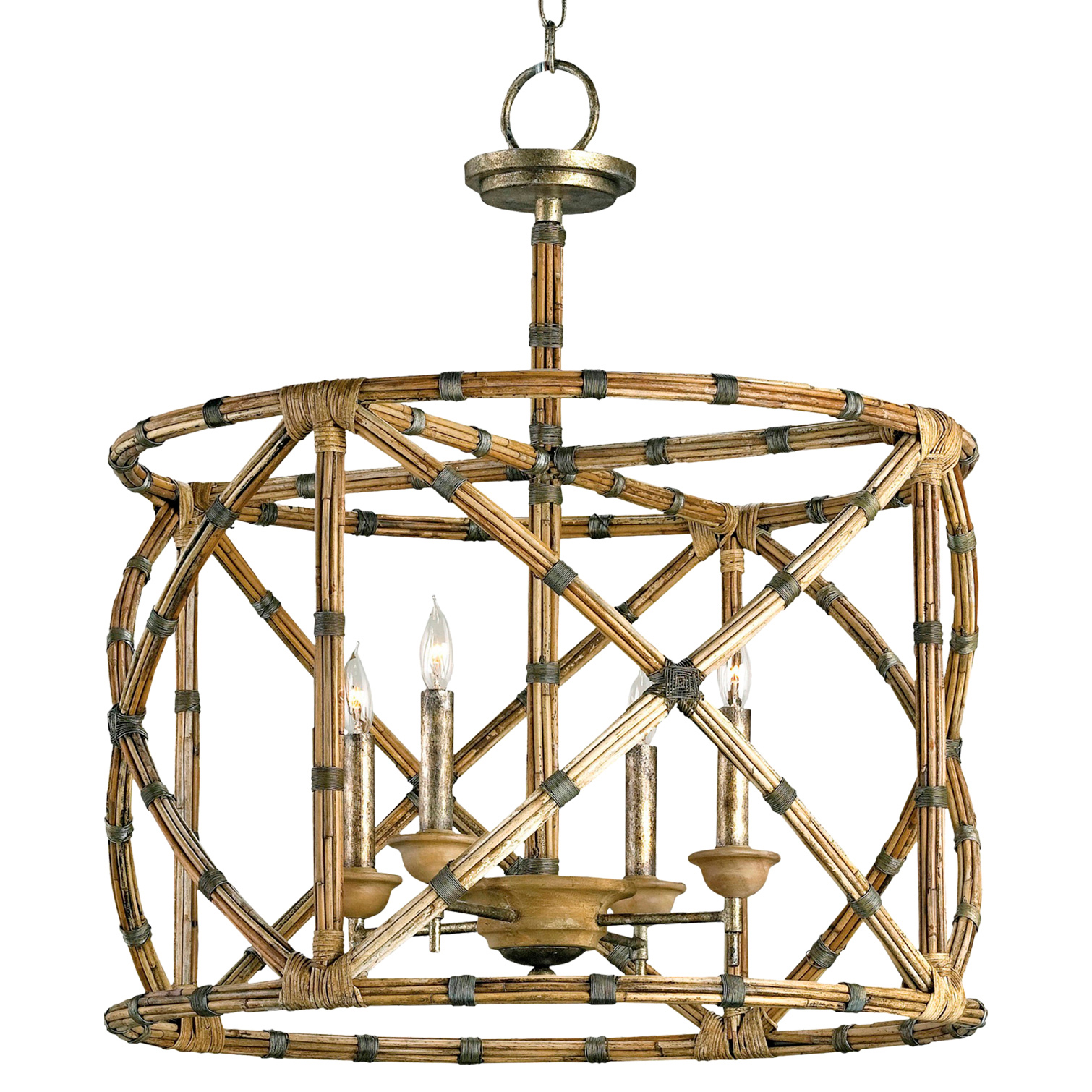 Palm Beach Bamboo Washed Wood 4 Light Lantern Pendant Lamp