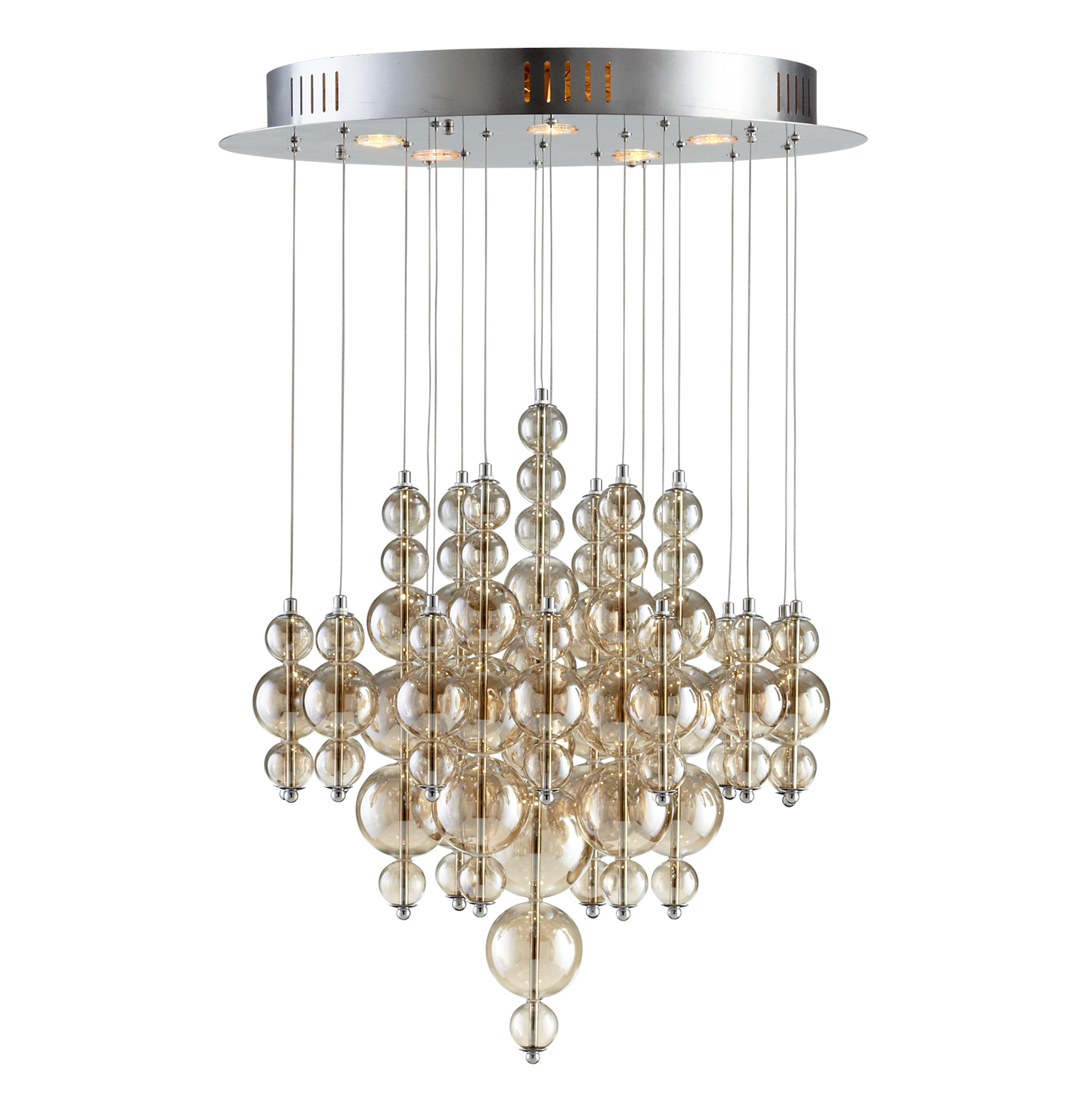 Bubbles Smokey Brown Glass Balls Murano Style Ceiling Mount - 5 Light