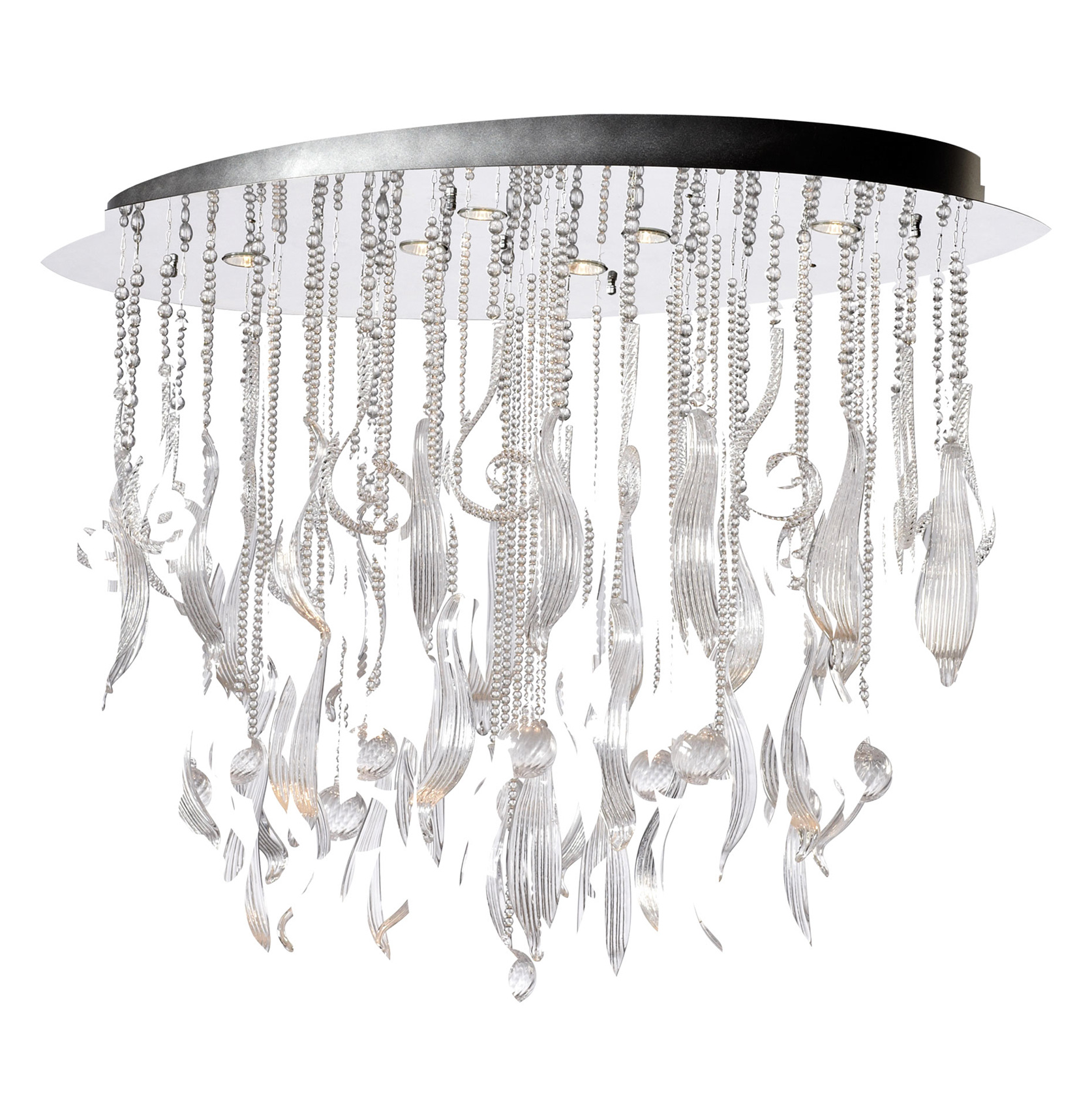 Oval Mirabella Clear Glass Murano Style 6 Light Ceiling