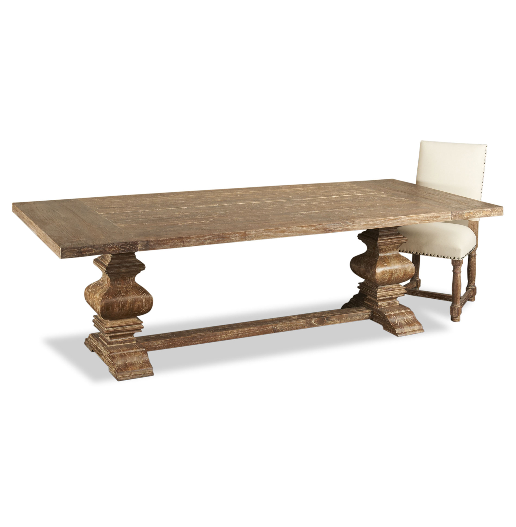 Sveti French Country Aged Wood Trestle Base Dining Table 98 L