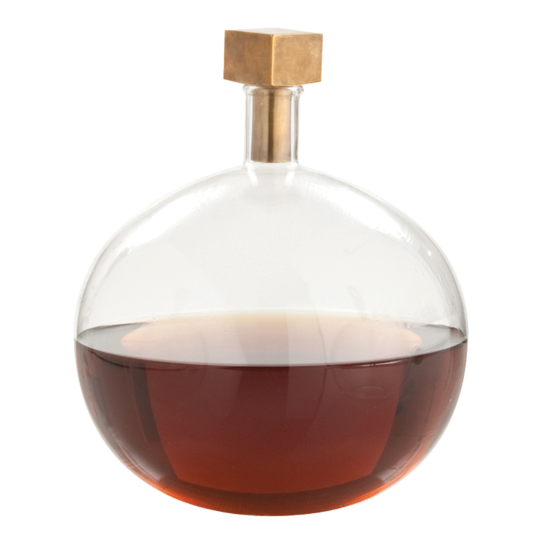 Edgar Round Modern Glass Square Brass Stopper Decanter