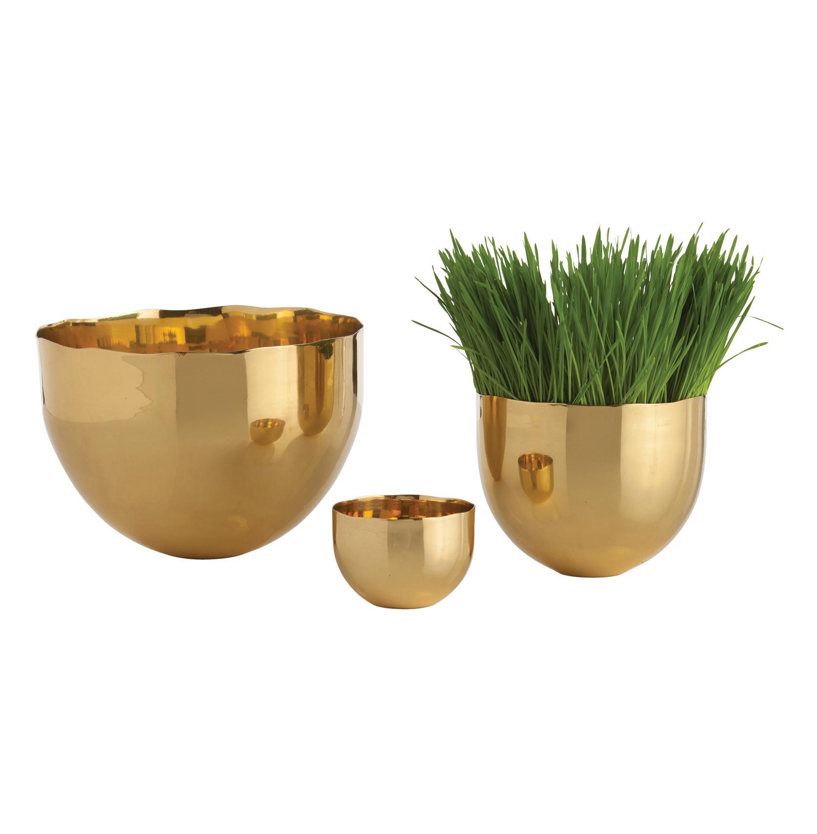 Stockholm Irregular Edge Modern Polished Brass Bowls- Set of 3