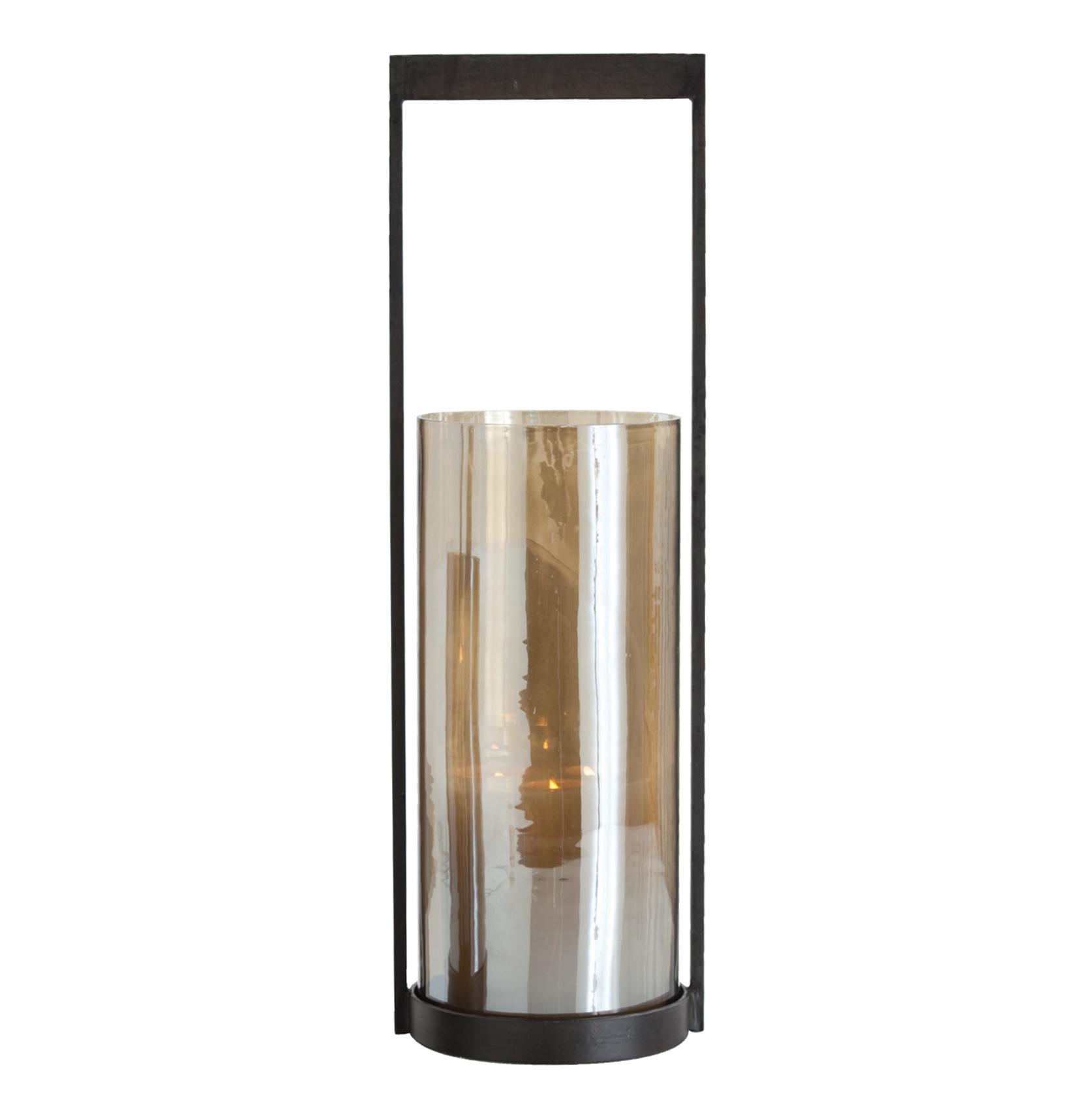 Egan Modern Mercury Glass Iron Hurricane Candle Holder - 20.5 Inch