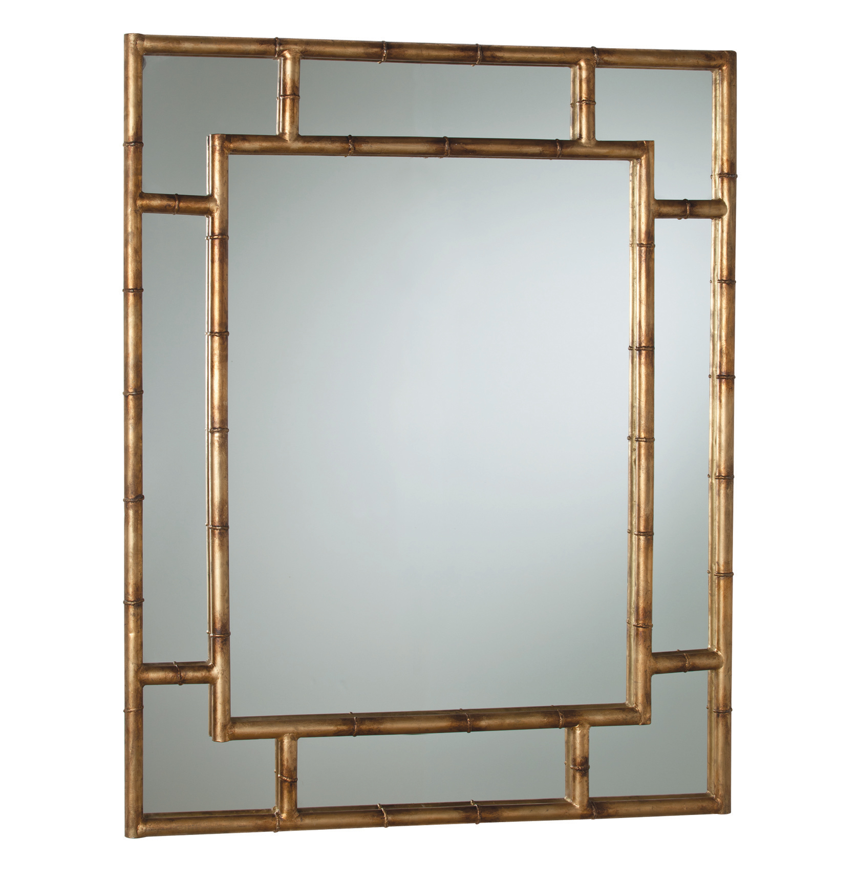 Hollywood Regency Faux Bamboo Gold Leaf Rectangle Mirror