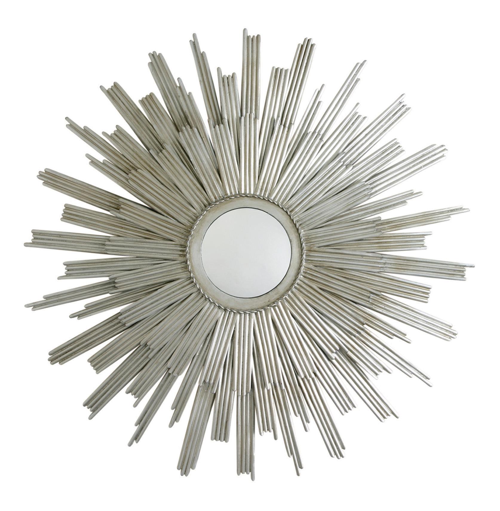 Galaxy Modern Deco Silver Sunburst Rays Mirror