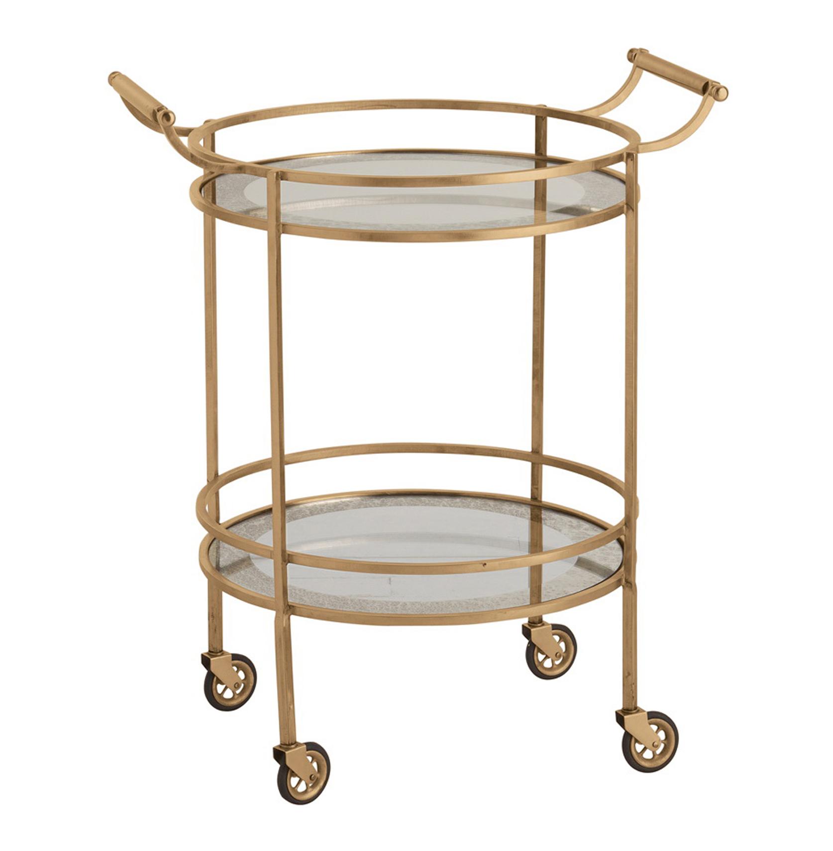 Wade Contemporary Art Deco Gold Glass Round Bar Cart