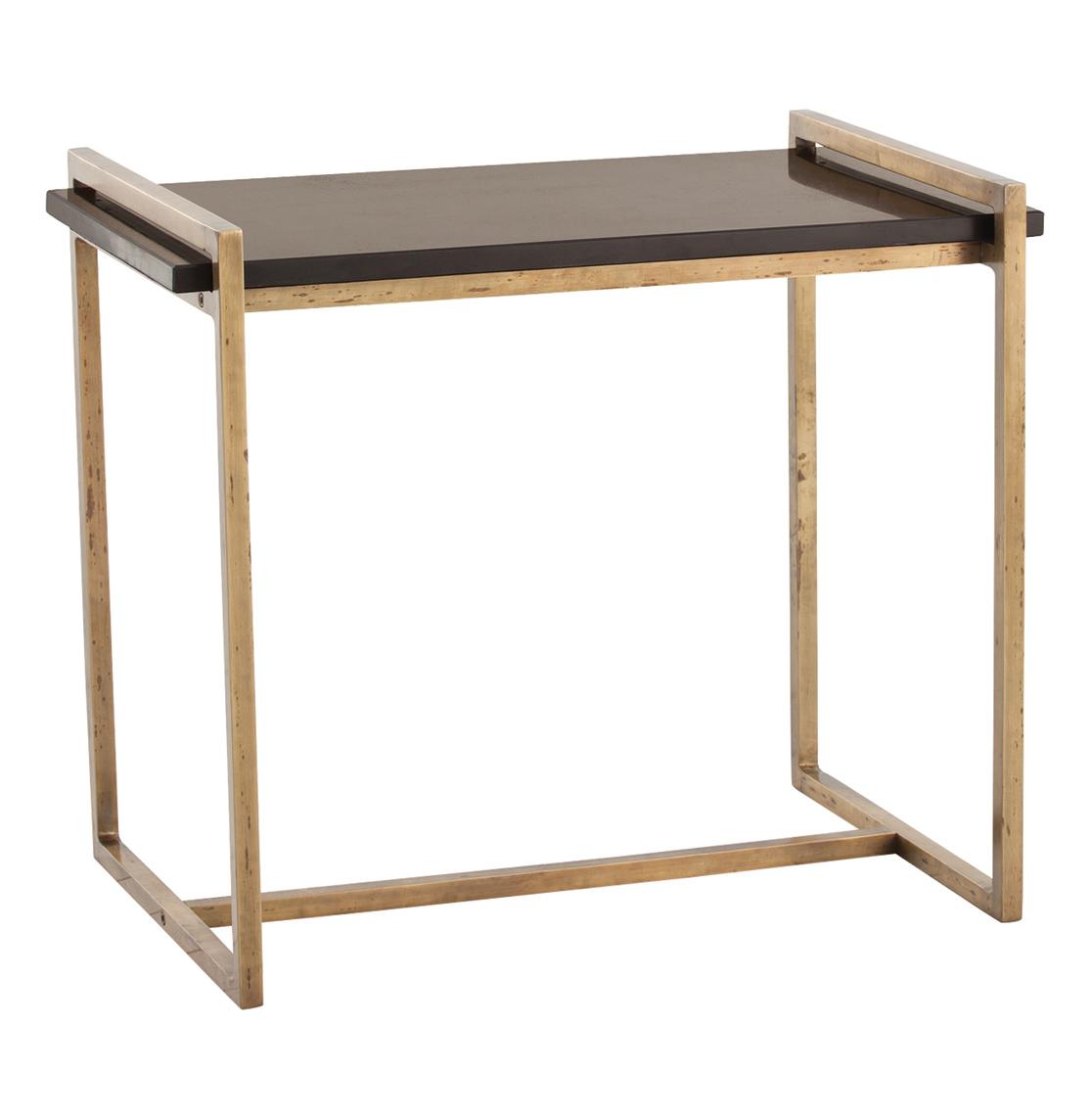 Hollis Modern Black Marble Iron Rectangular Side Table