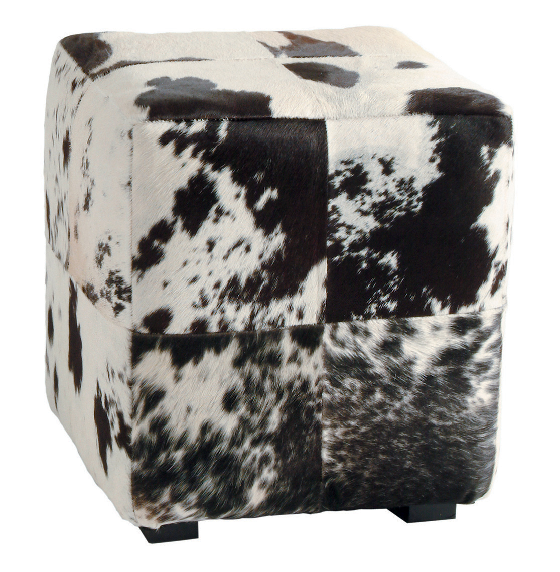 Hugo Leather Black and White Hide Contemporary Patchwork Ottoman