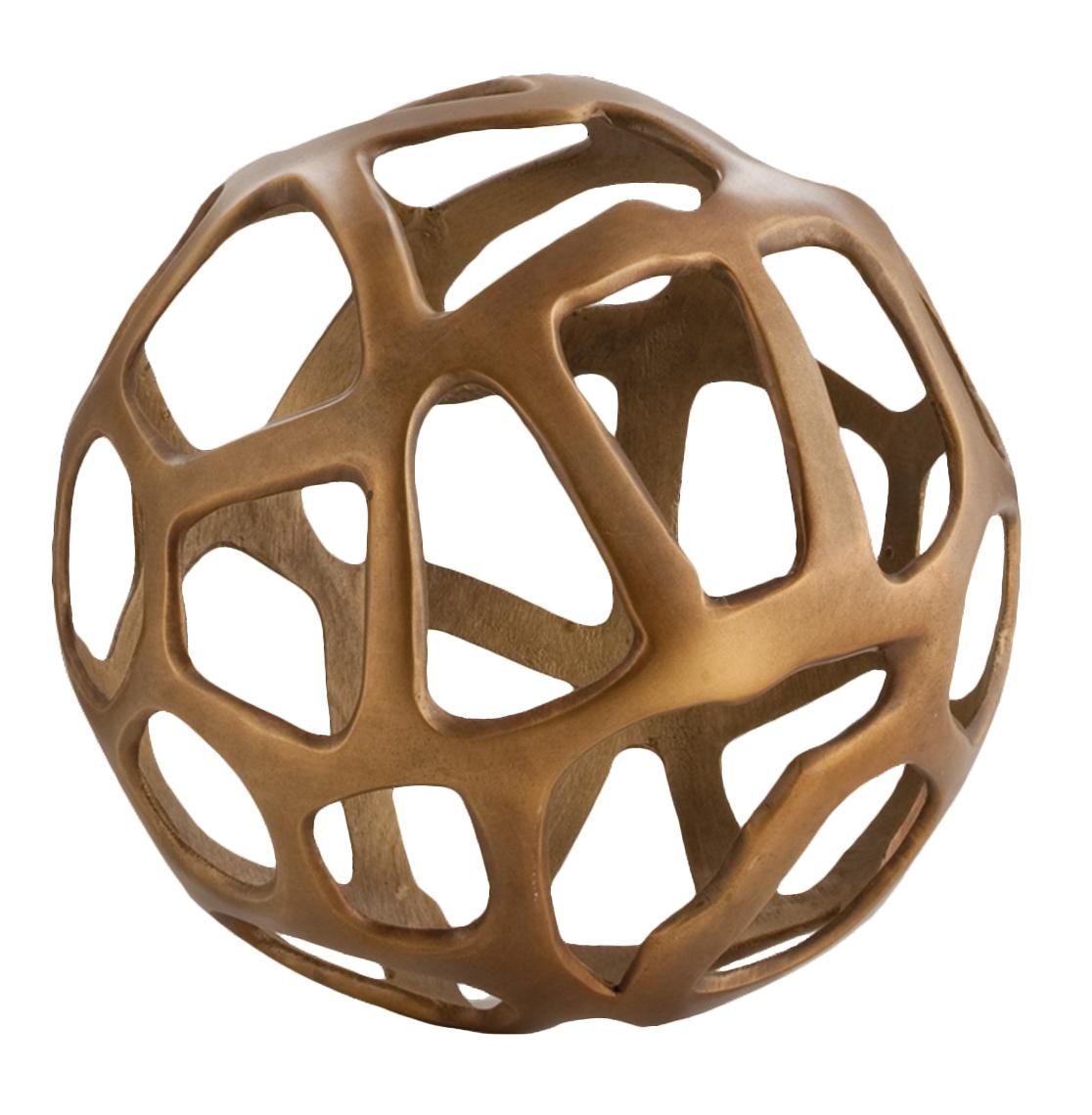 Ennis Antique Brass Web Sphere Sculpture Decor Object - 10 Inch