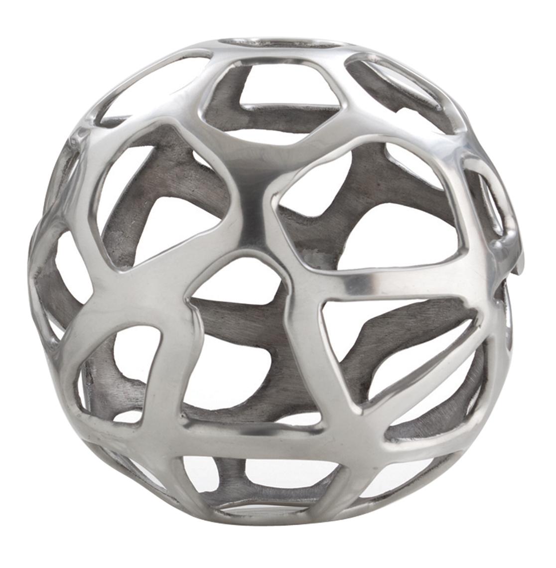 Ennis Polished Nickel Web Sphere Sculpture Decor Object - 10 Inch
