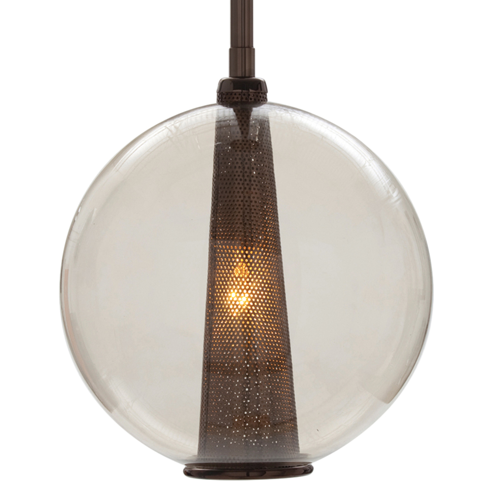 Reeves Large Polished Nickel Round Clear Glass Pendant Light