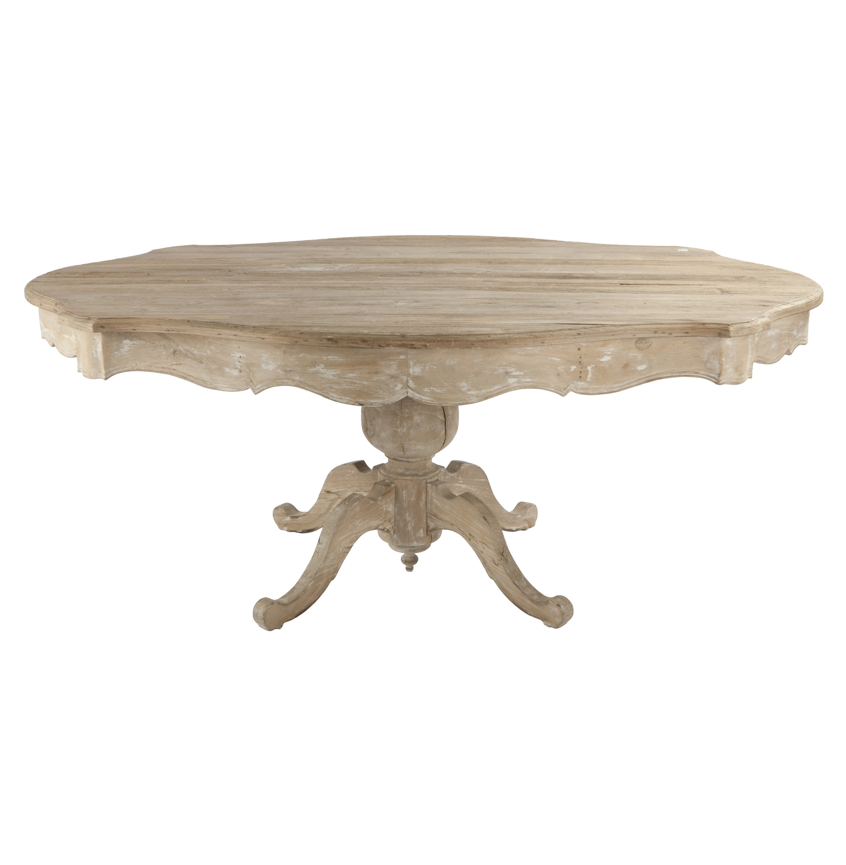 french country scalloped edge antique white pedestal dining table