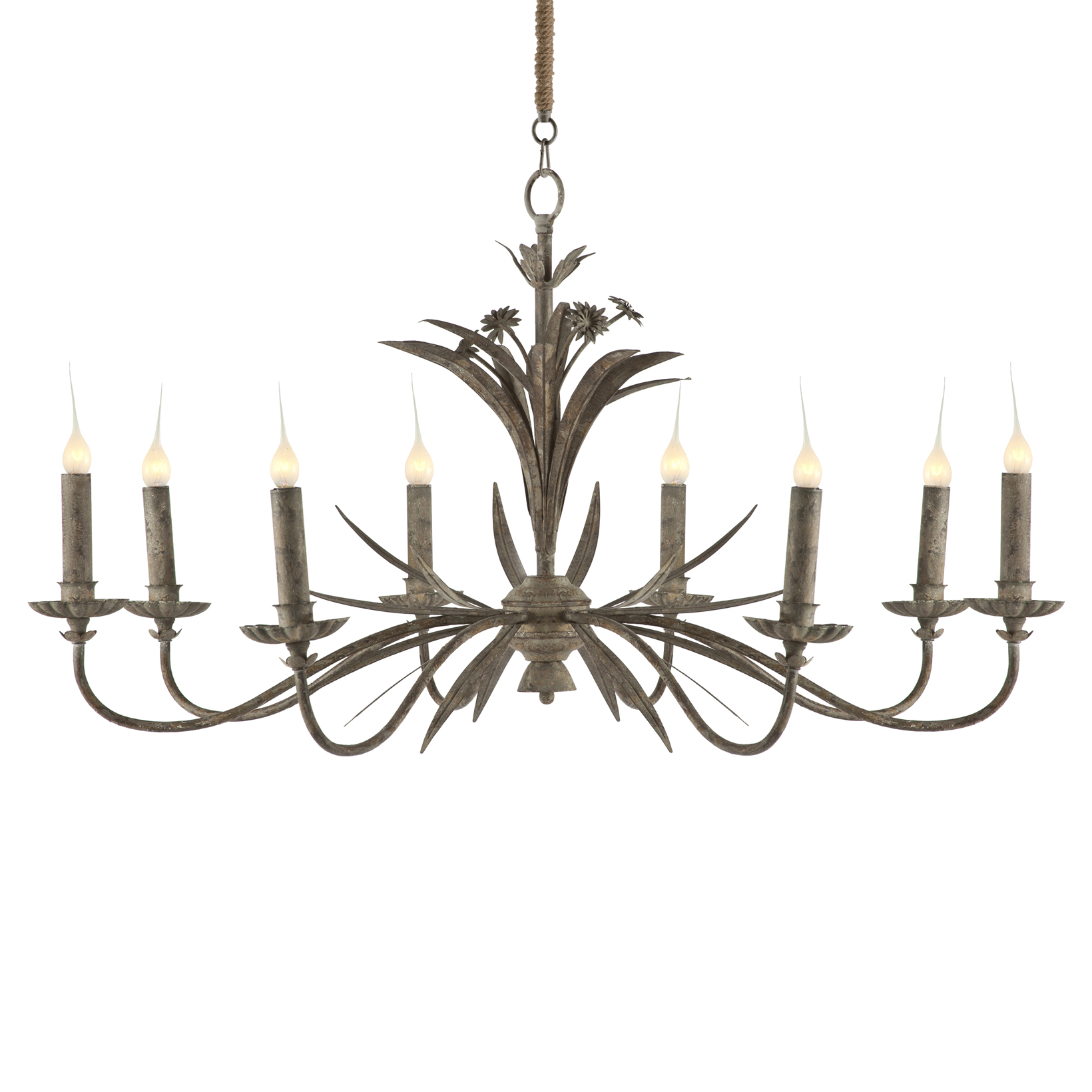 Florence Antique Grey Metal French Country 8 Light Chandelier