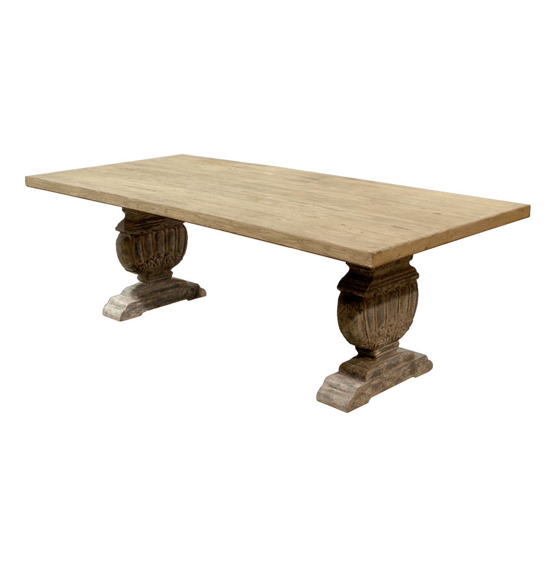 Cervantes French Country Trestle Base Farmhouse Dining Table