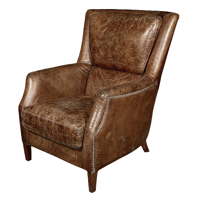 Chelsea Classic Masculine Room Distressed Cigar Leather Arm Chair