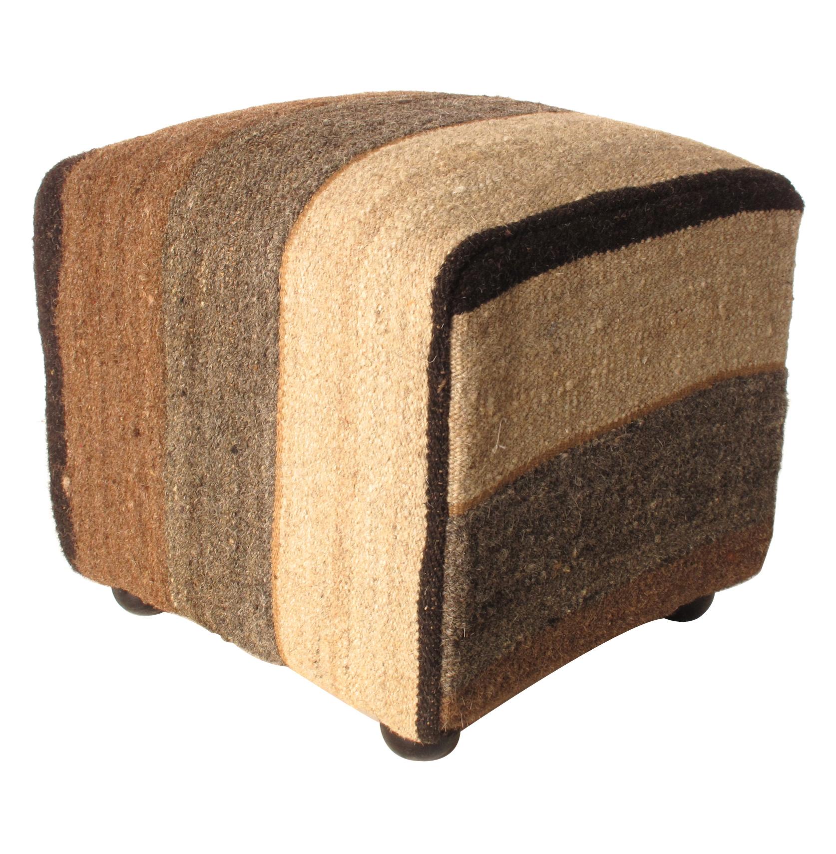brown gray ecru modern stripe kilim ottoman