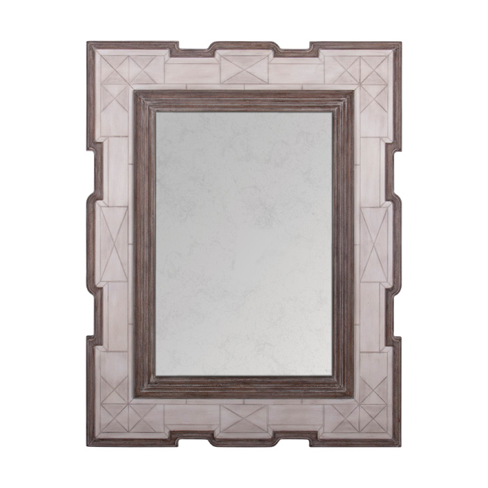 Jemaa Global White Bone Border Brown Frame Wall Mirror