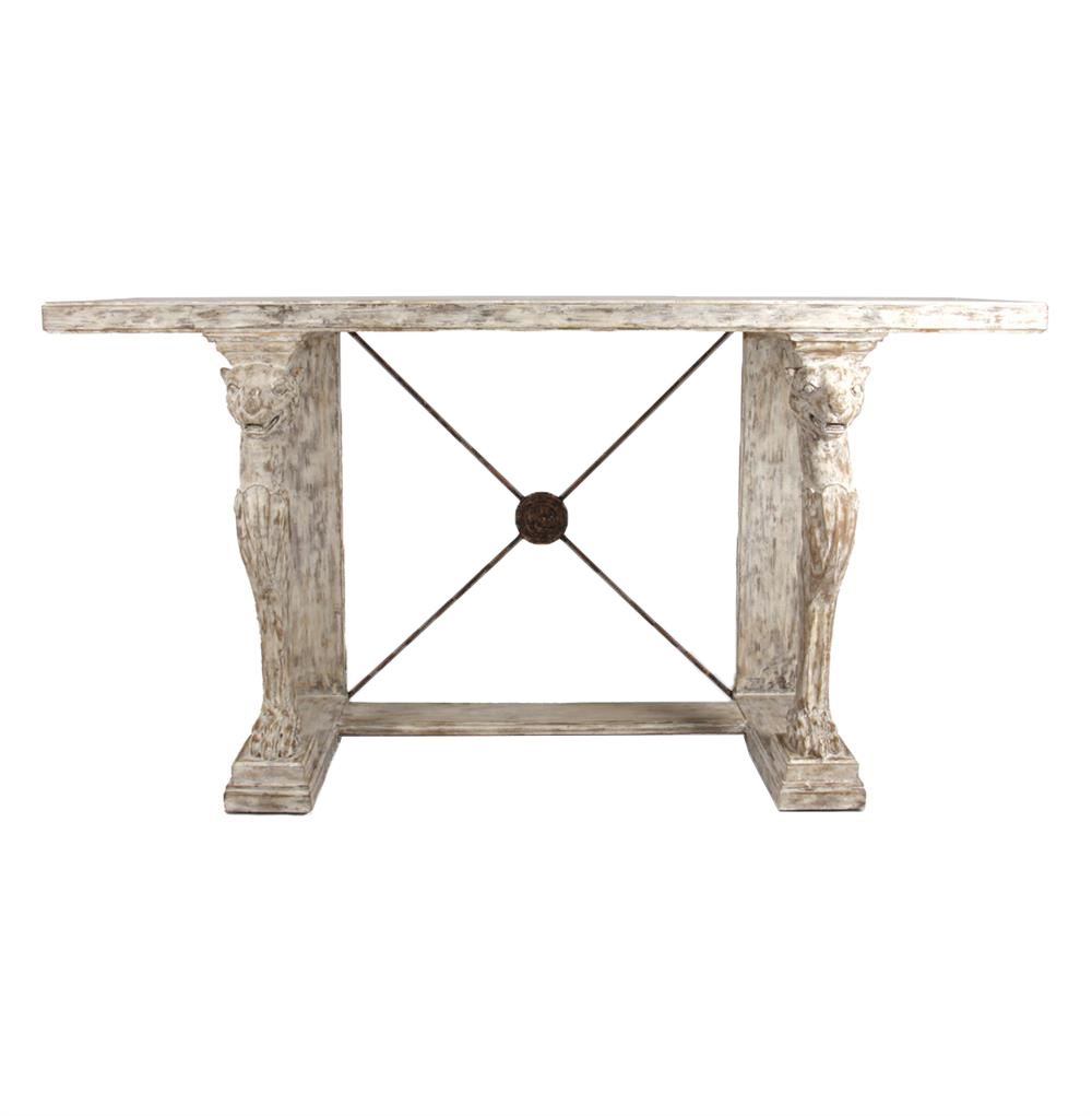 Leonidas French Country Antique Greek Console Table