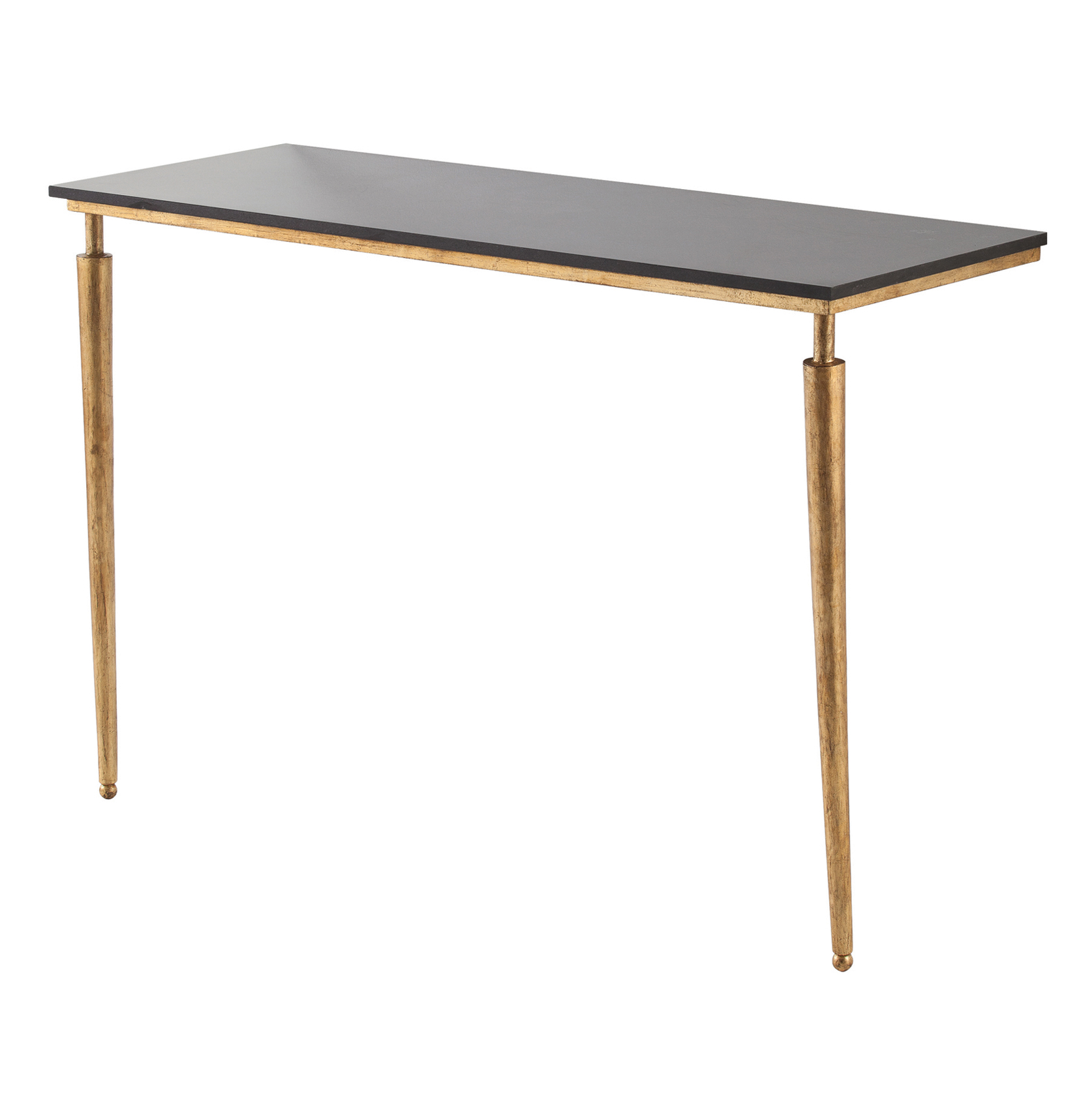 Bailey Polished Black Marble Gold Leaf Console Table