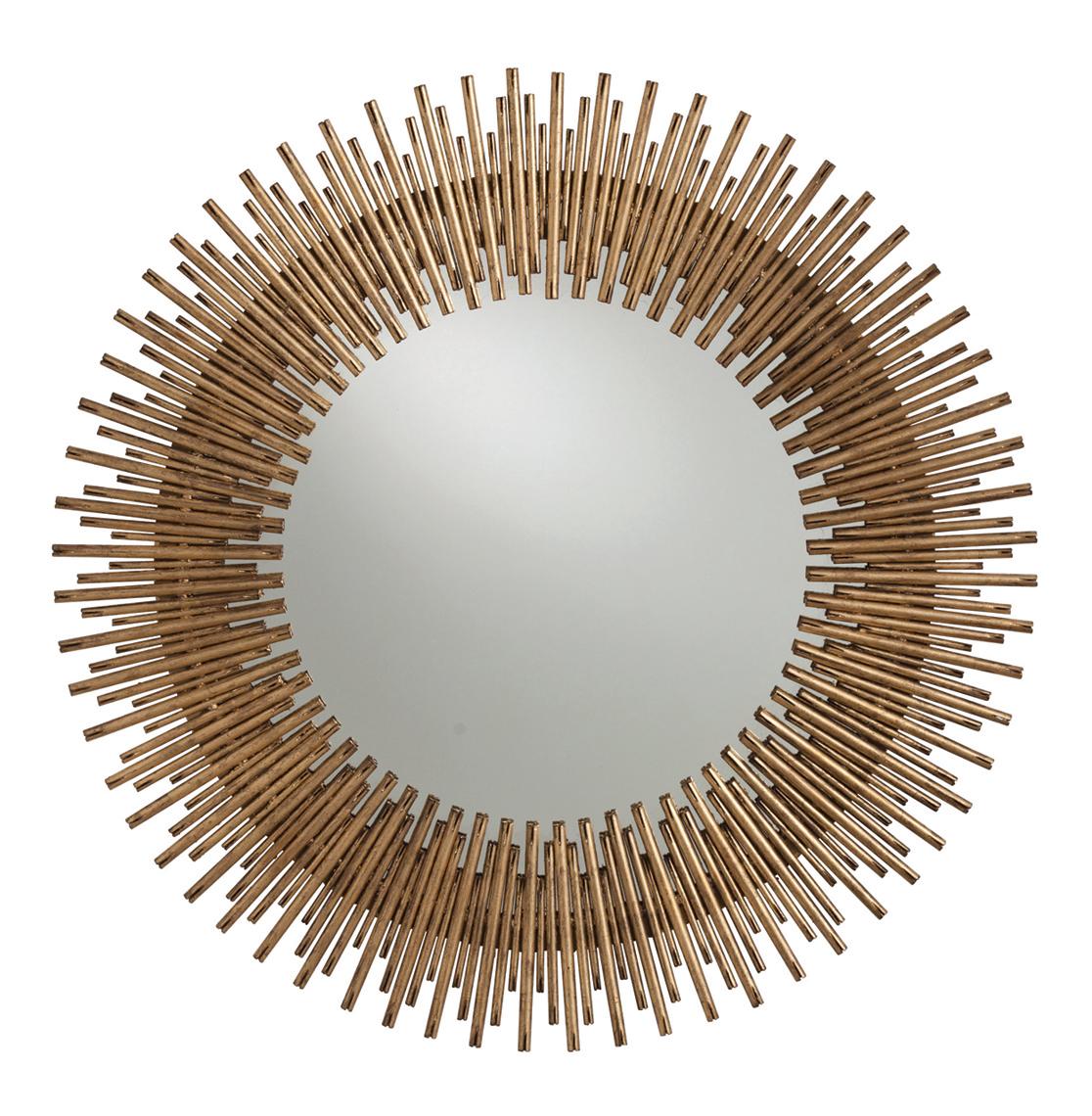 Bassett Antiqued Gold Leaf Sunburst Round Iron Mirror