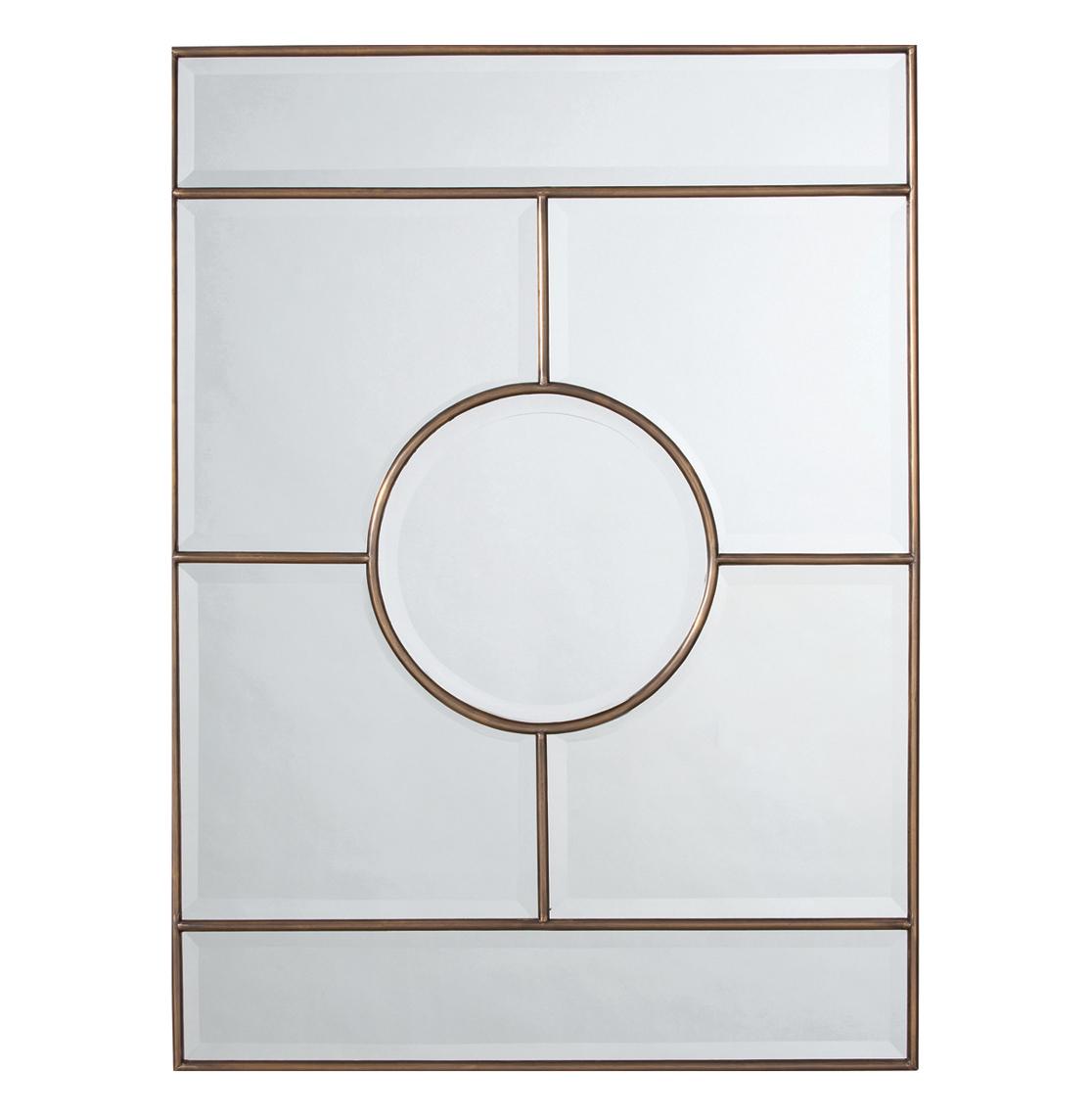 Bronsan Vintage Brass Geometric Paneled Beveled Mirror