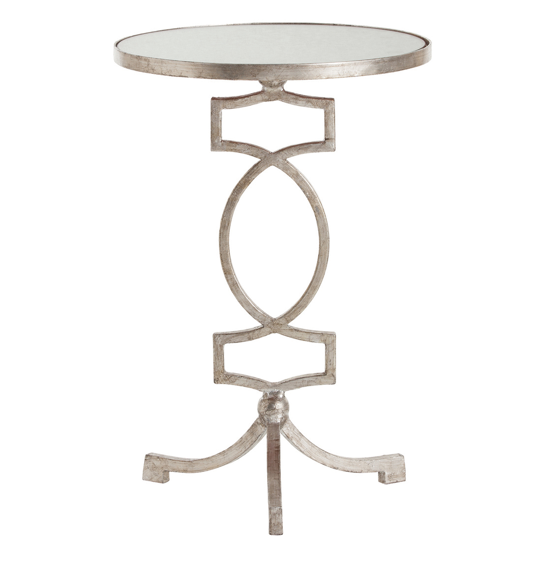 Cooper Silver Leaf Hollywood Regency Mirror Accent Side Table
