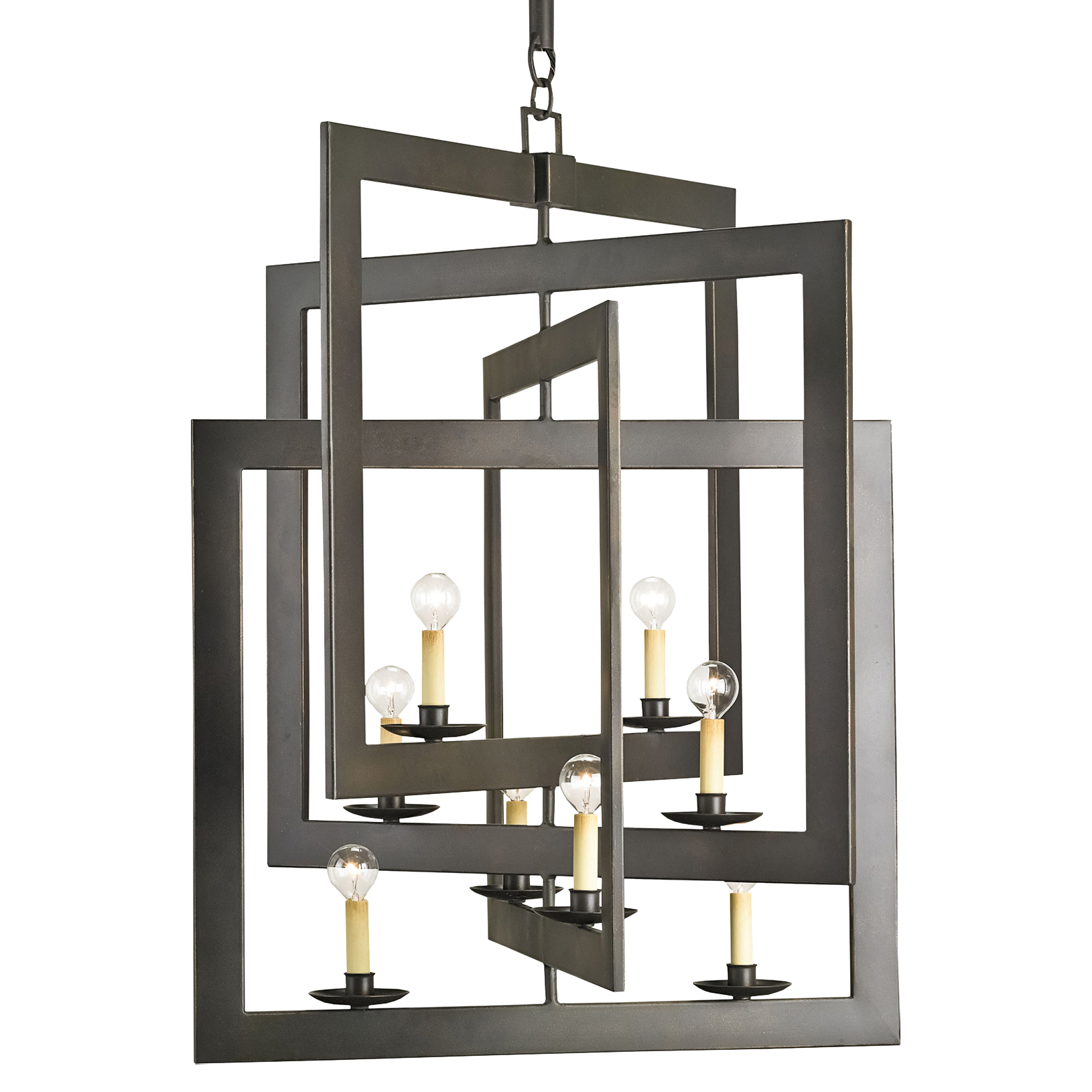 Modern Industrial Geometric 8 Light Pendant Chandelier