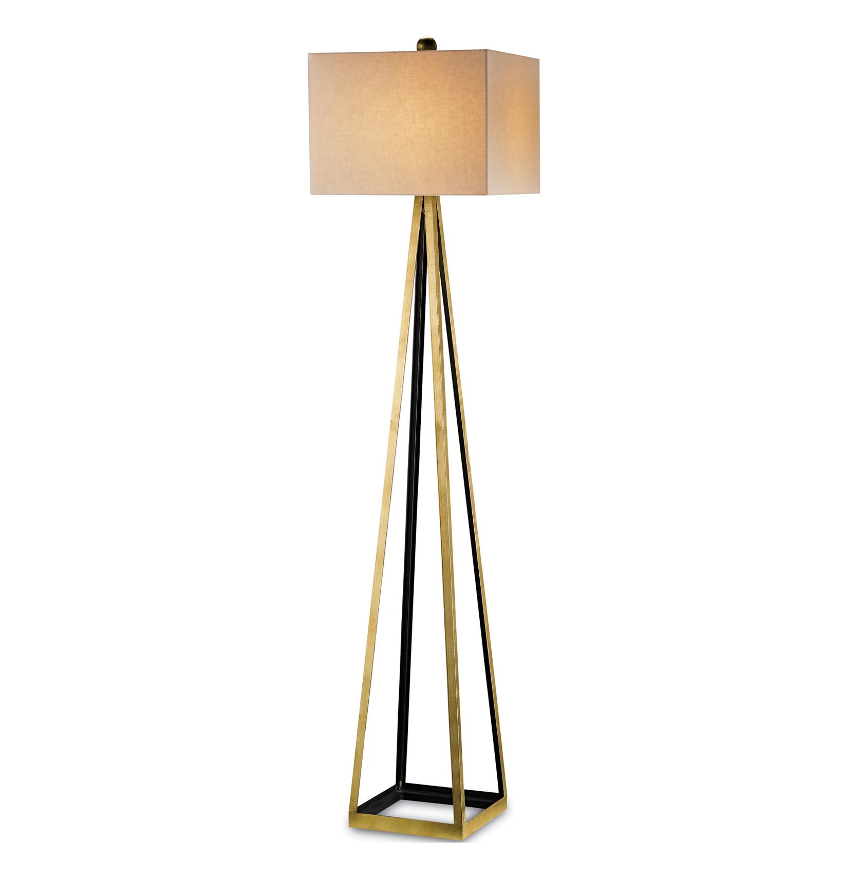 Hollywood Regency Gold Leaf Satin Floor Lamp