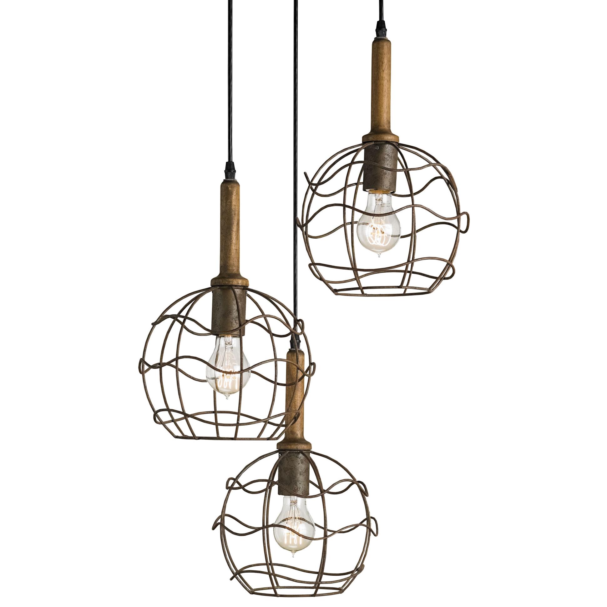 Emery Industrial loft Round Wire Frame Trio Pendant Light