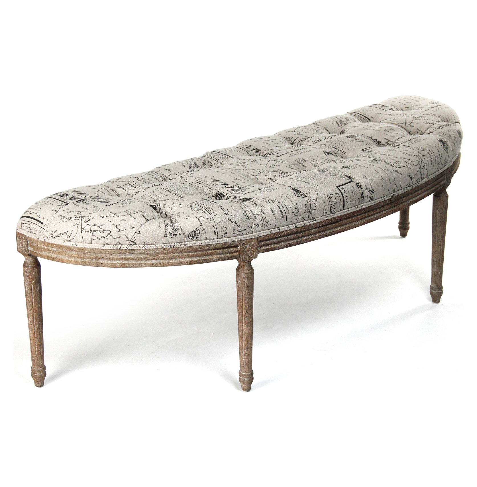 French Country Louis XVI Curved Script Linen Vanity Hallway Bench