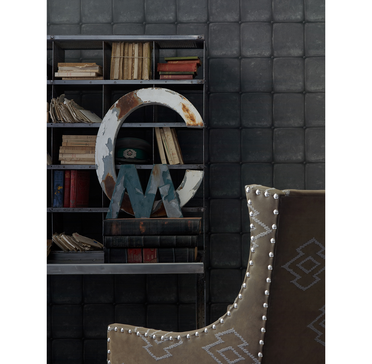 British Industrial Old Tile Wallpaper - Charcoal