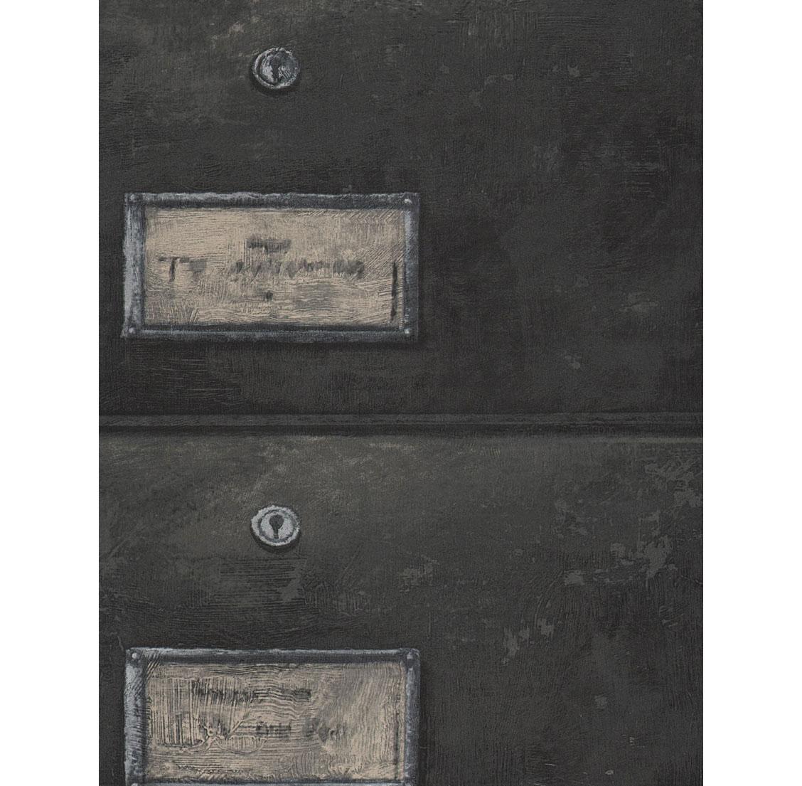 British Industrial Storage Drawers Wallpaper - Charcoal
