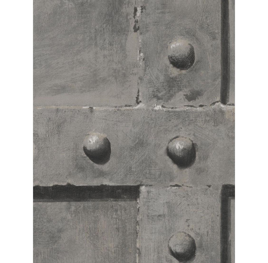 Isambard Industrial Iron Panel Wallpaper - Steel