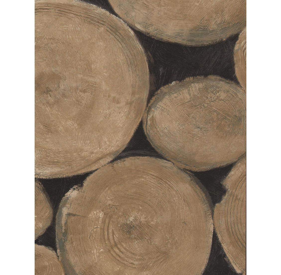 Rustic Lodge Wooden Log Ends Wallpaper - Beech