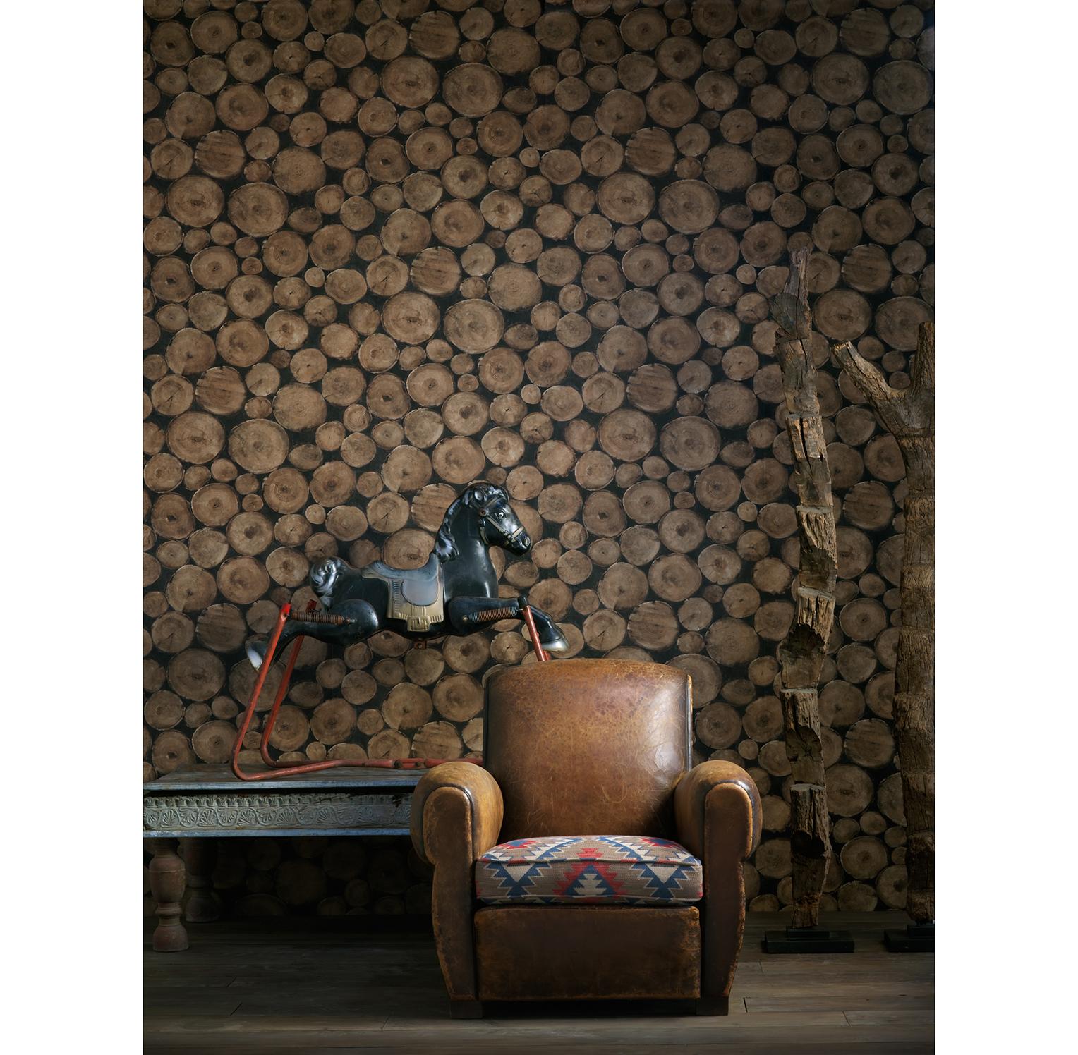 Rustic Lodge Wooden Log Ends Wallpaper - Timber