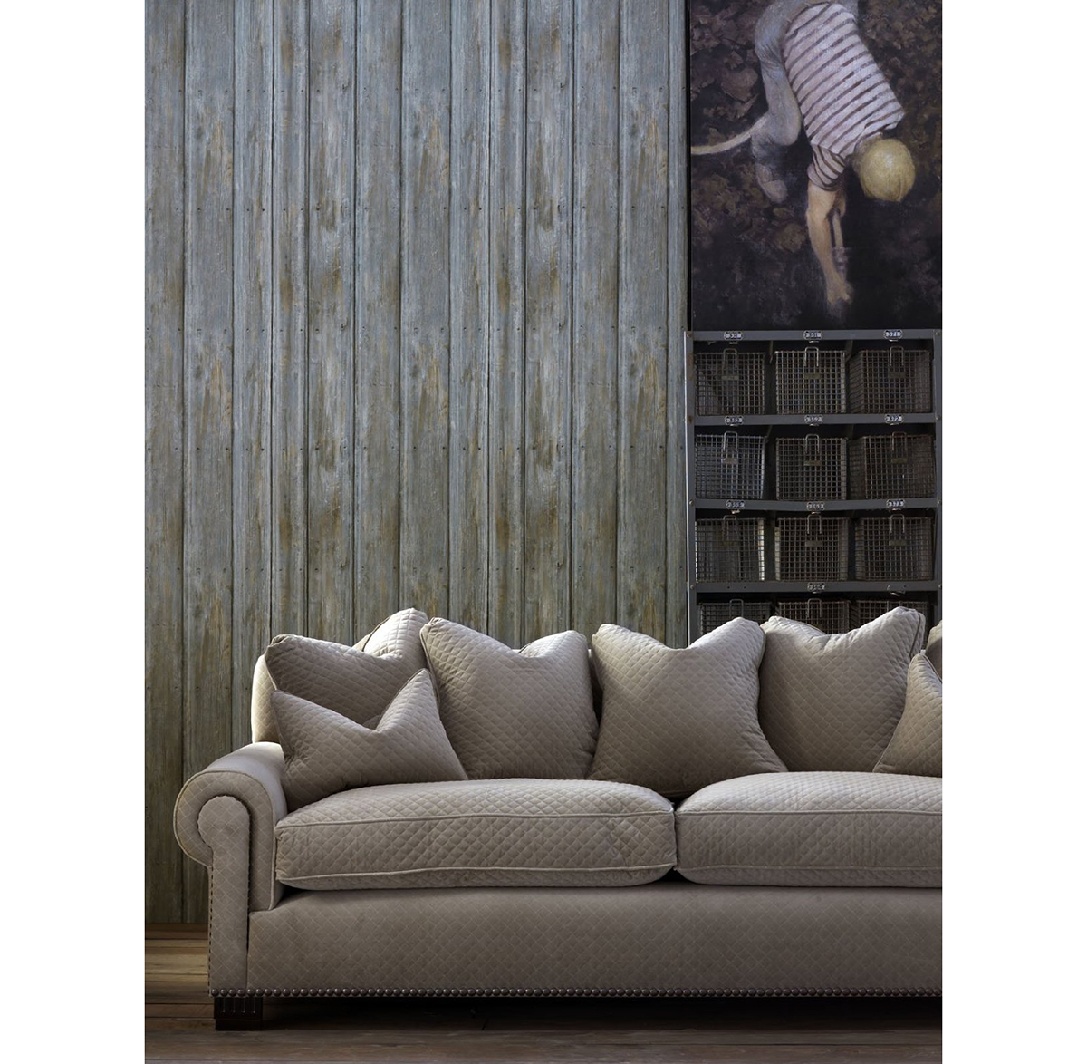 Rustic Lodge Timber Panel Wallpaper - Driftwood