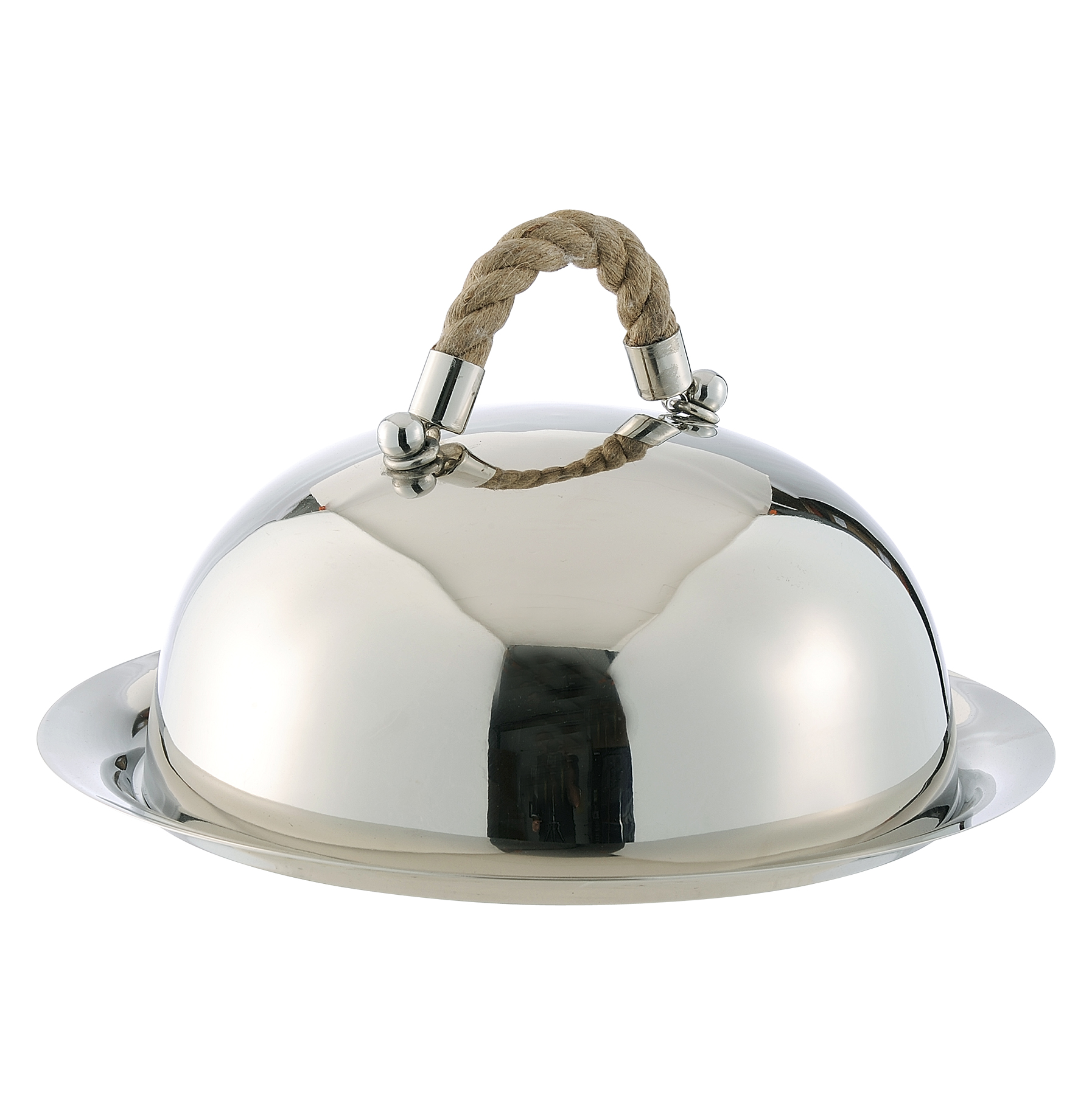 Nautical Rope Polished Silver Modern Serving Dome and Charger