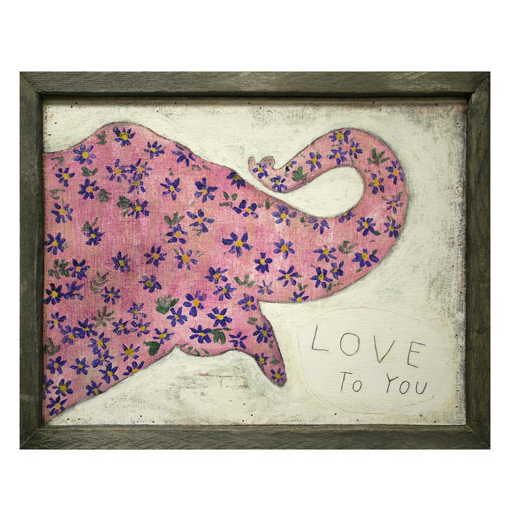 Pink Elephant Reclaimed Wood Frame I Love You Wall Art