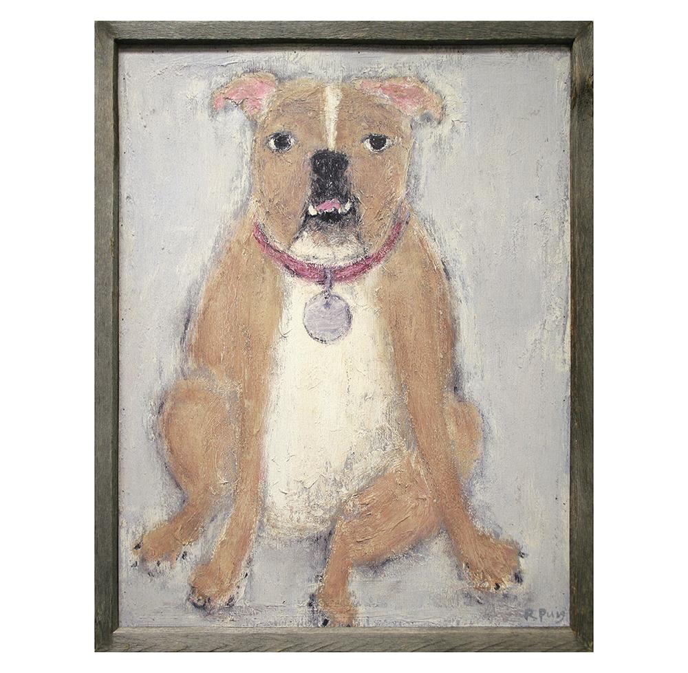 Bulldog Reclaimed Wood Art Print Wall Art