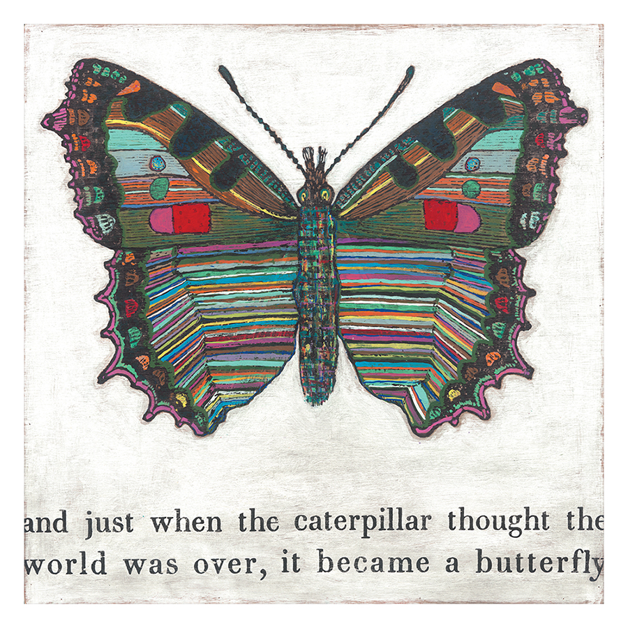 Colorful Butterfly Reclaimed Wood Art Print Wall Art - 36x36
