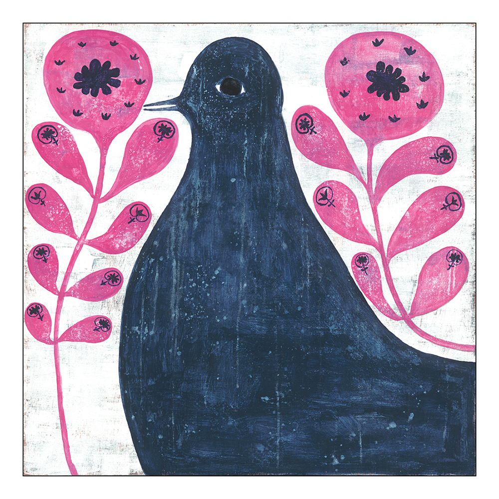 Black Bird in Pink Reclaimed Wood Vintage Wall Art - 36x36