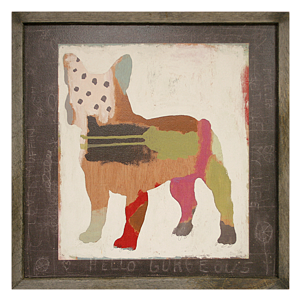 French Bulldog Frenchie Painted Reclaimed Wood Frame Wall Art