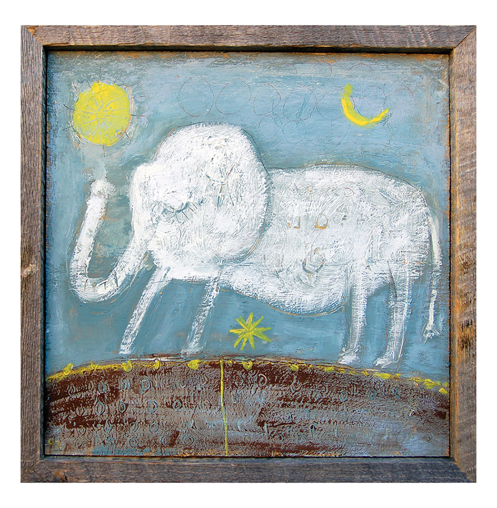Baby Elephant Drawn Grey Blue Reclaimed Wood Frame Wall Art