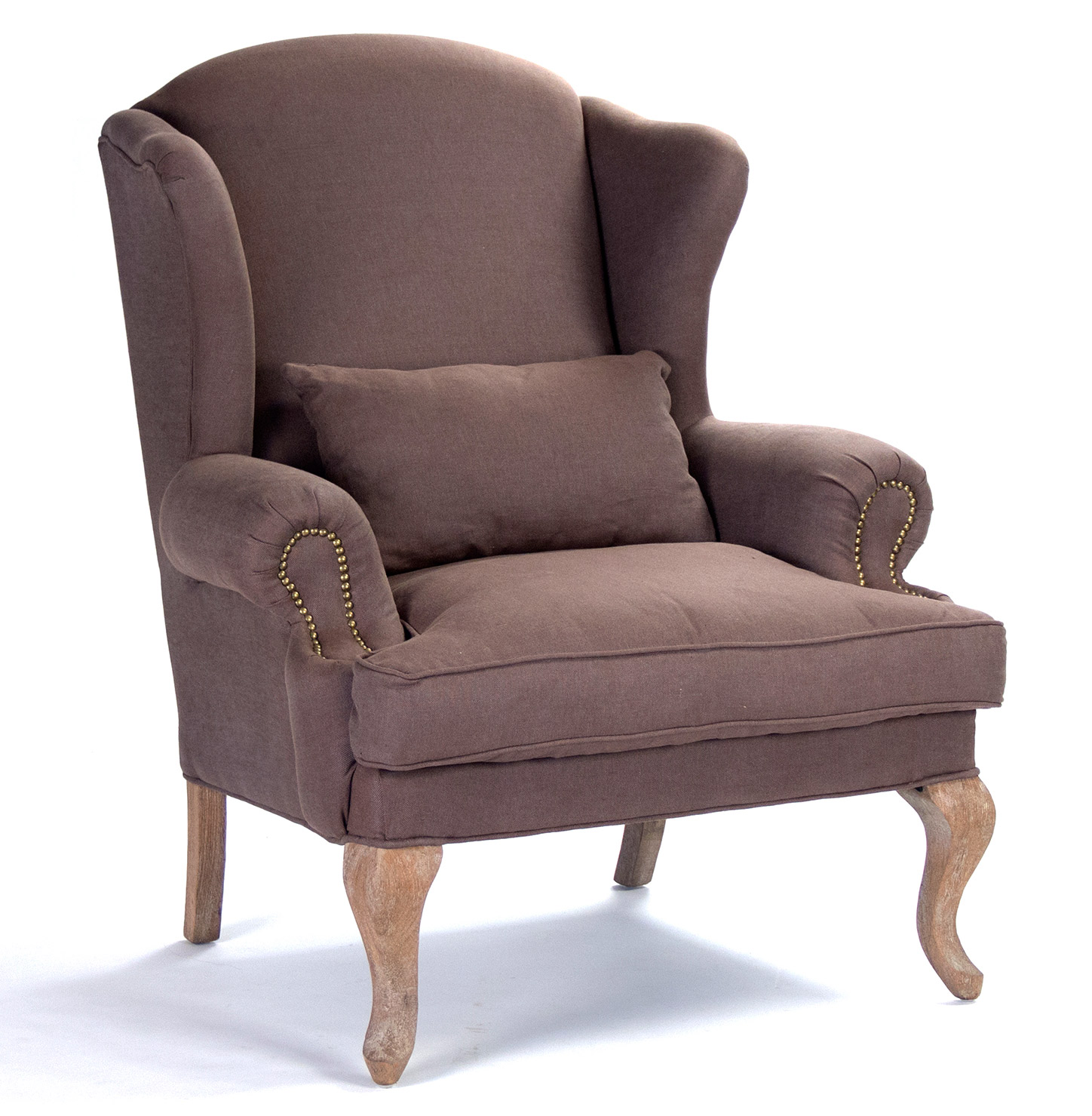Zacharie French Country Nail Head Brown Wing Chair