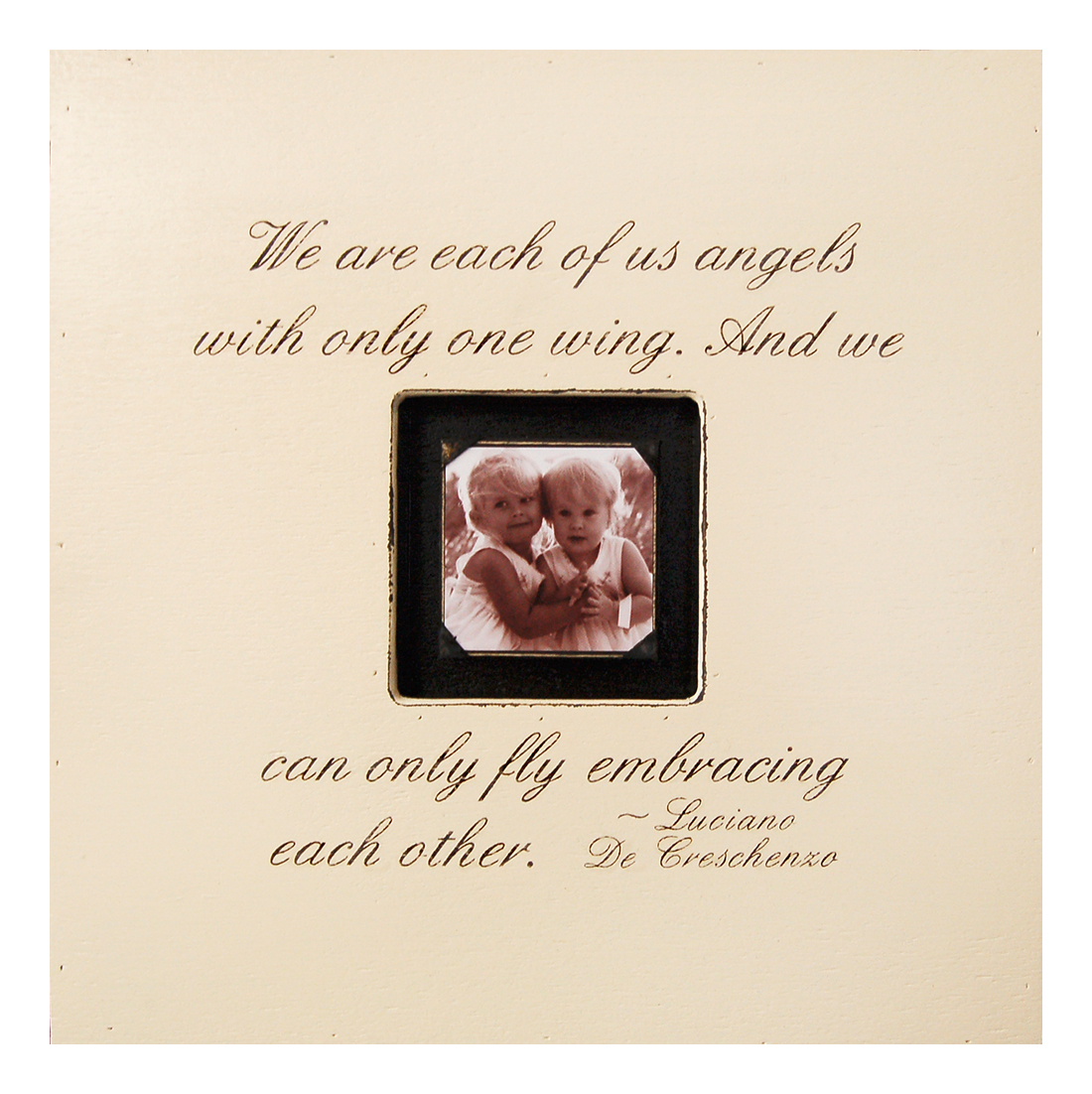Painted Wood Rustic Photo Box - We Are Each Of Us Angels - Cream