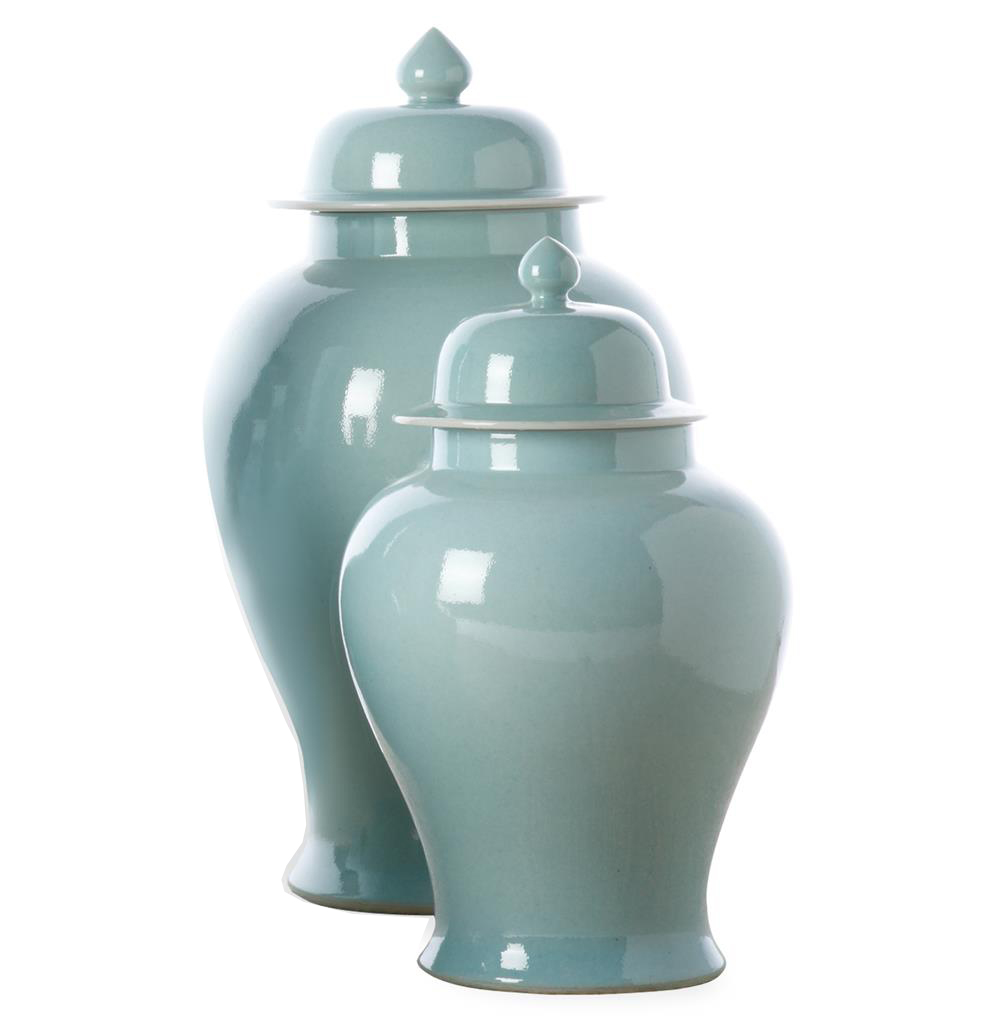Set of 2 Turquoise Asian Inspired Porcelain Temple Jars